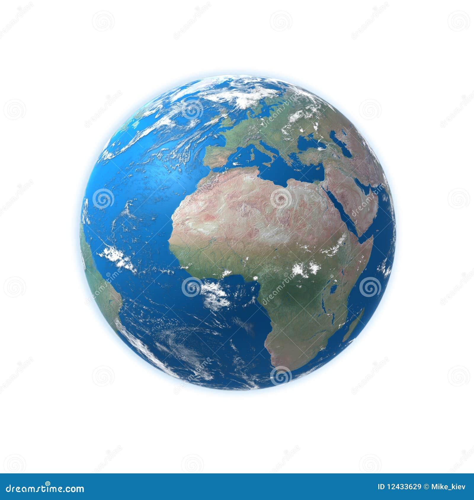 Mapa detalhado elevado da terra, Europa, África