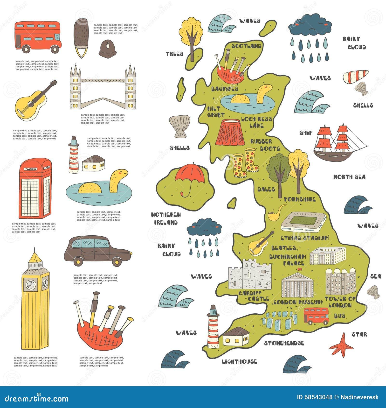 Mapa dibujado mano linda del garabato de Inglaterra