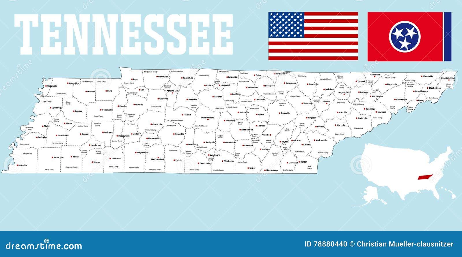 Mapa Do Condado De Tennessee Ilustração do Vetor ...