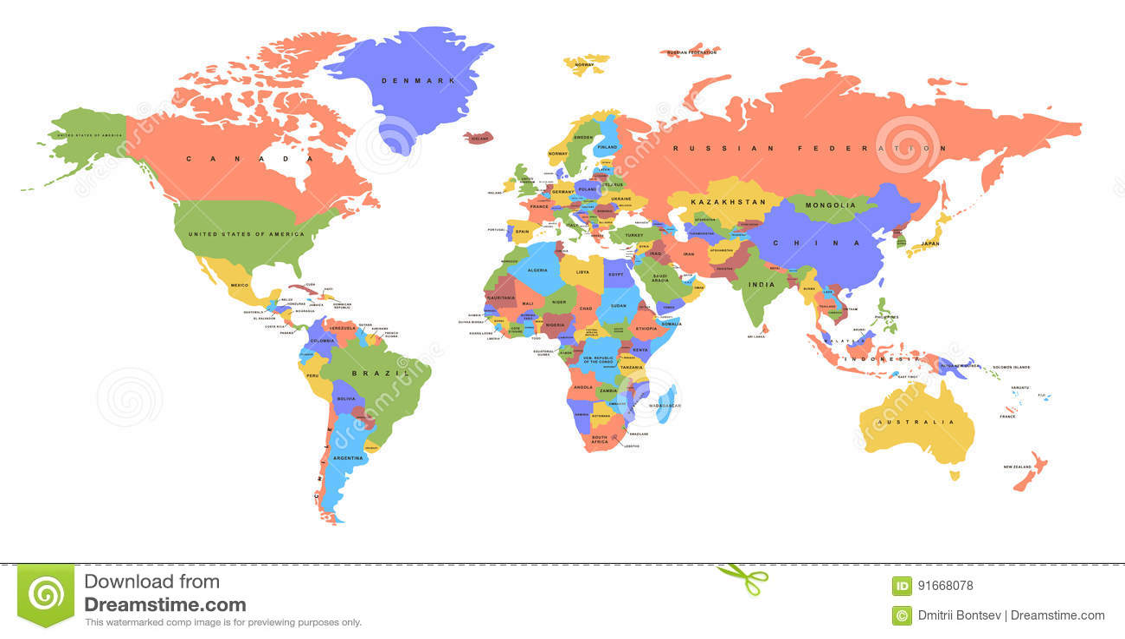 Mapa do continente e do país da cor mapa político
