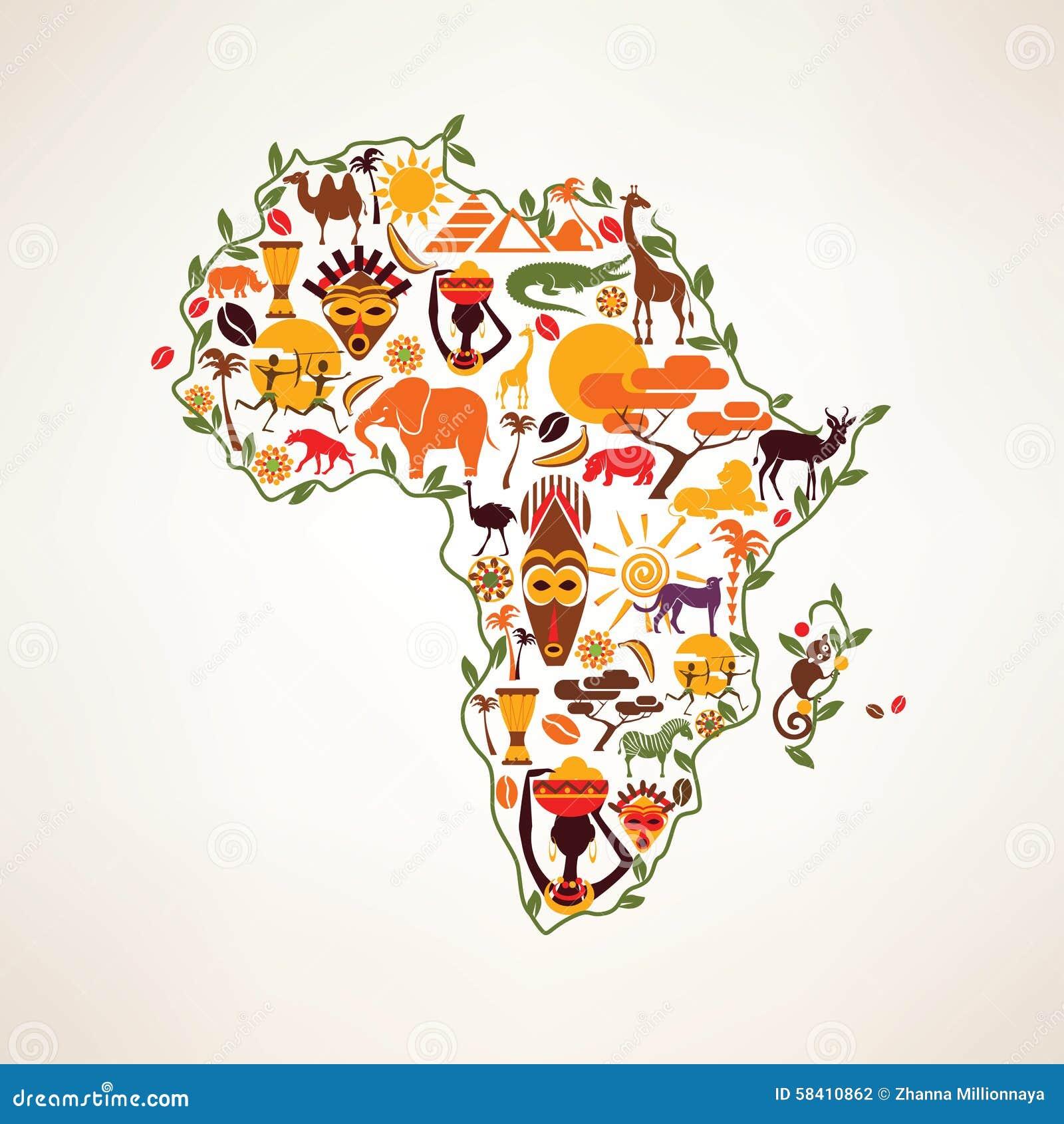 Mapa do curso de África, símbolo decrative do continente de África com eth