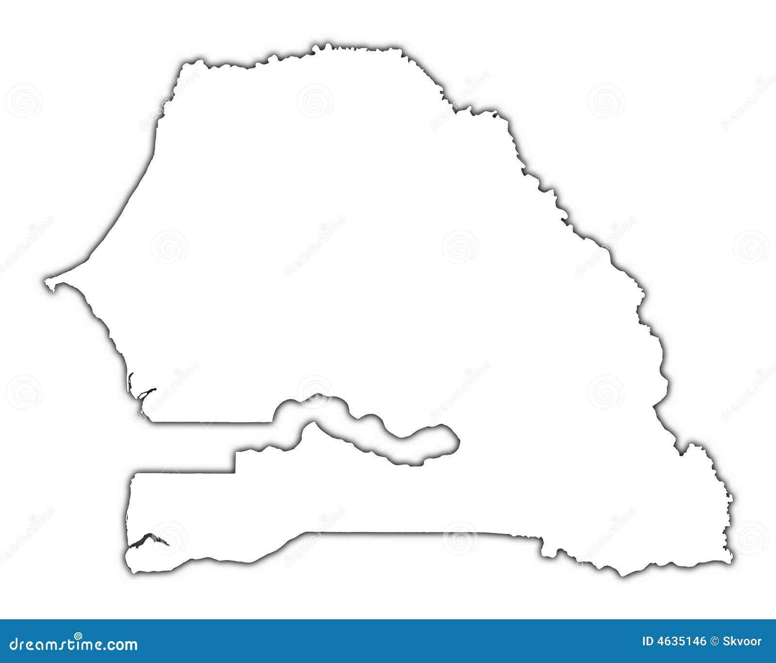 Mapa do esboço de Senegal