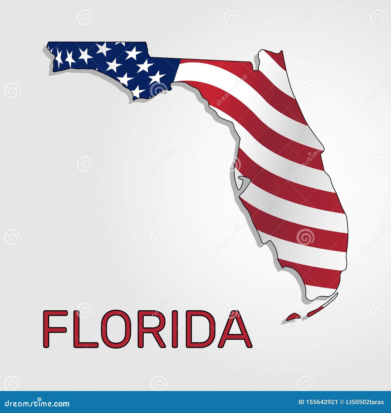Mapa do estado da Flórida em combinação com a que acena a bandeira do Estados Unidos - vetor