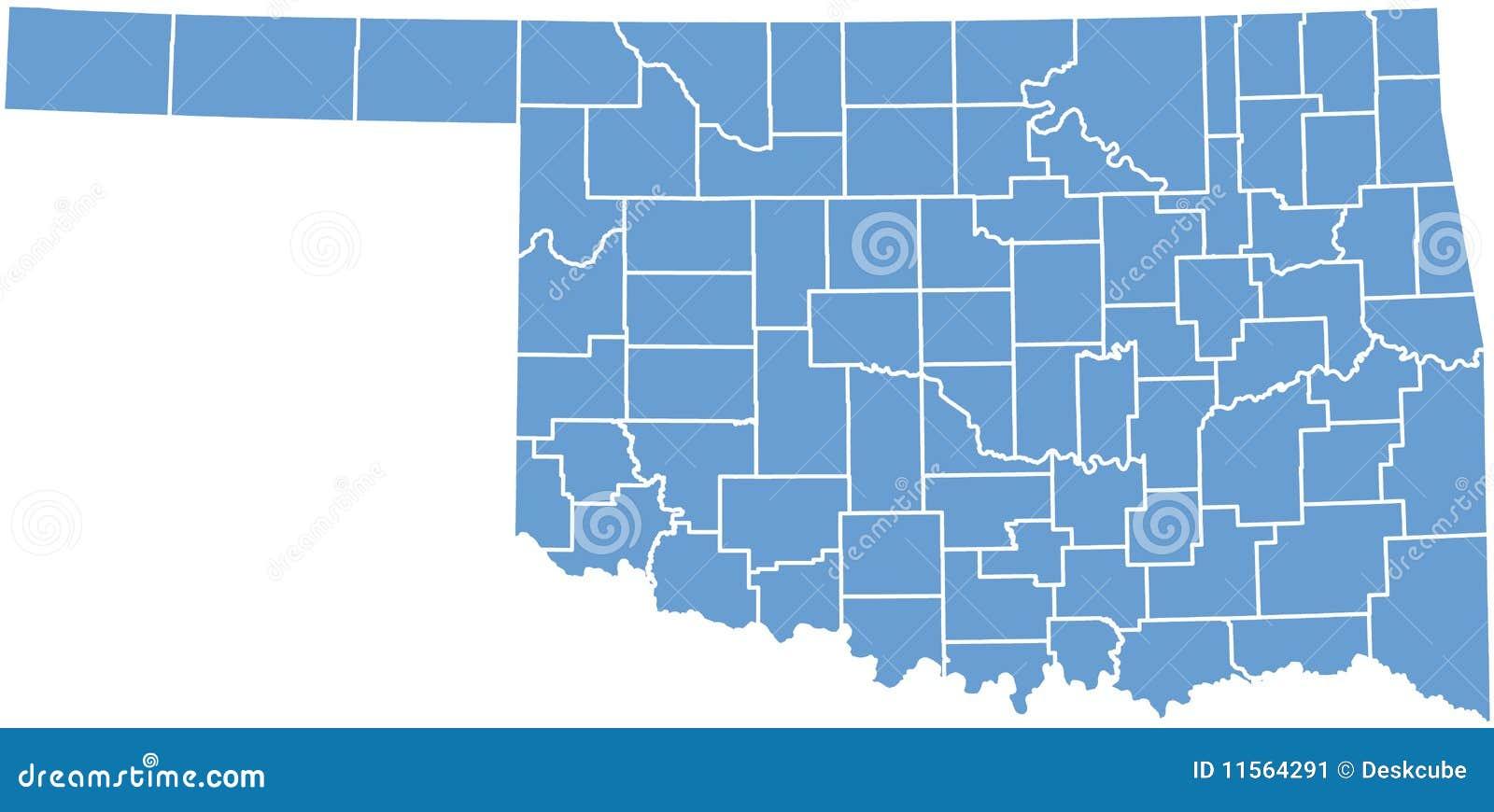 Mapa do estado de Oklahoma por condados