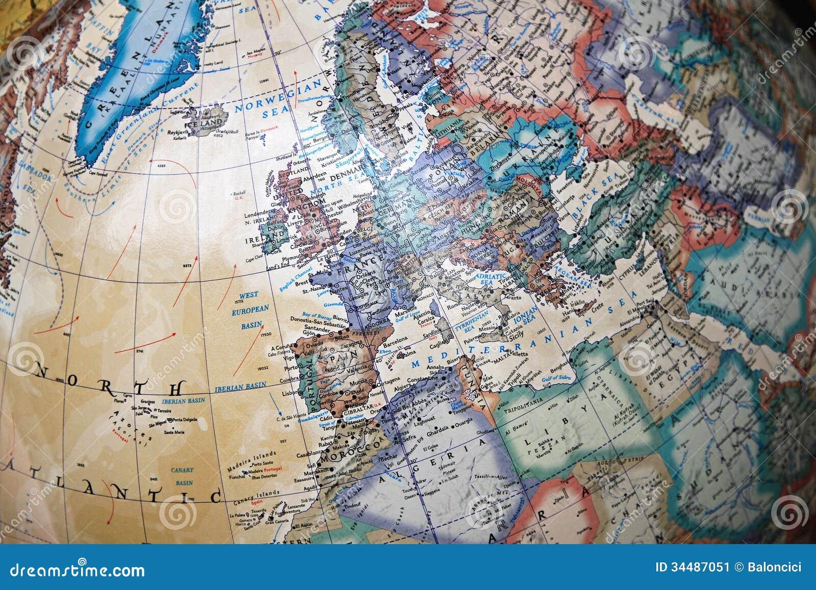 Mapa do globo do vintage