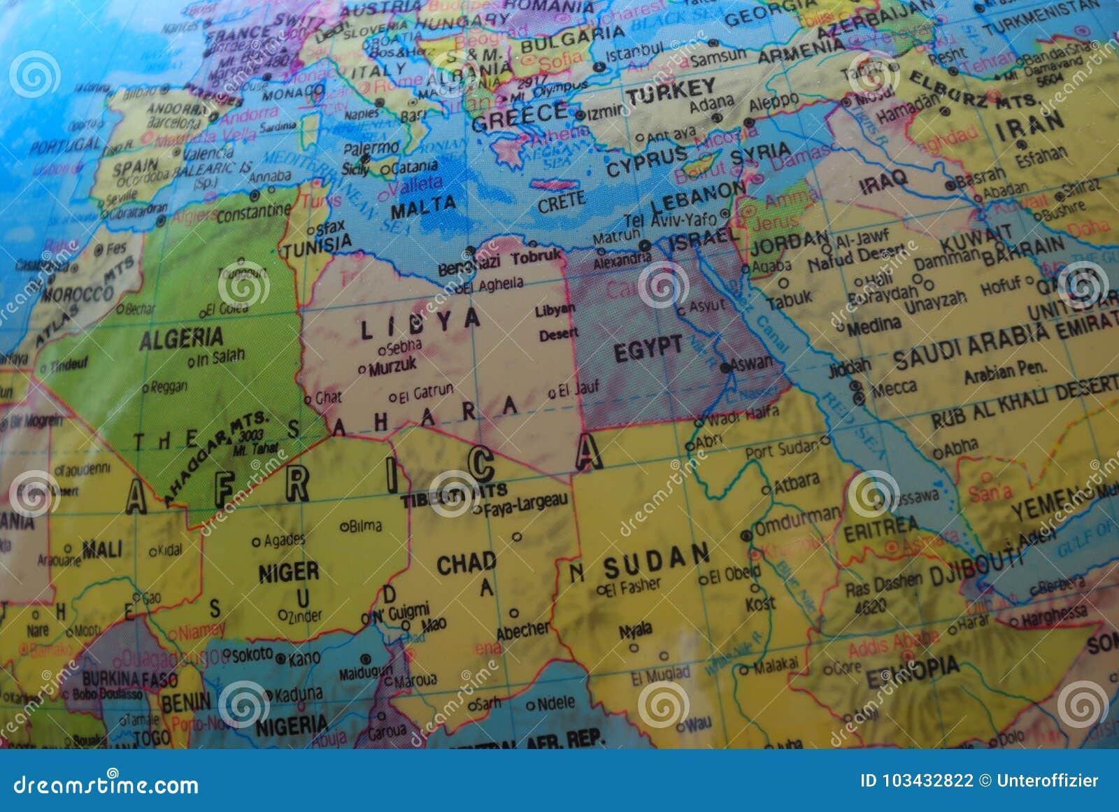 Mapa do globo do Norte de África e do Médio Oriente
