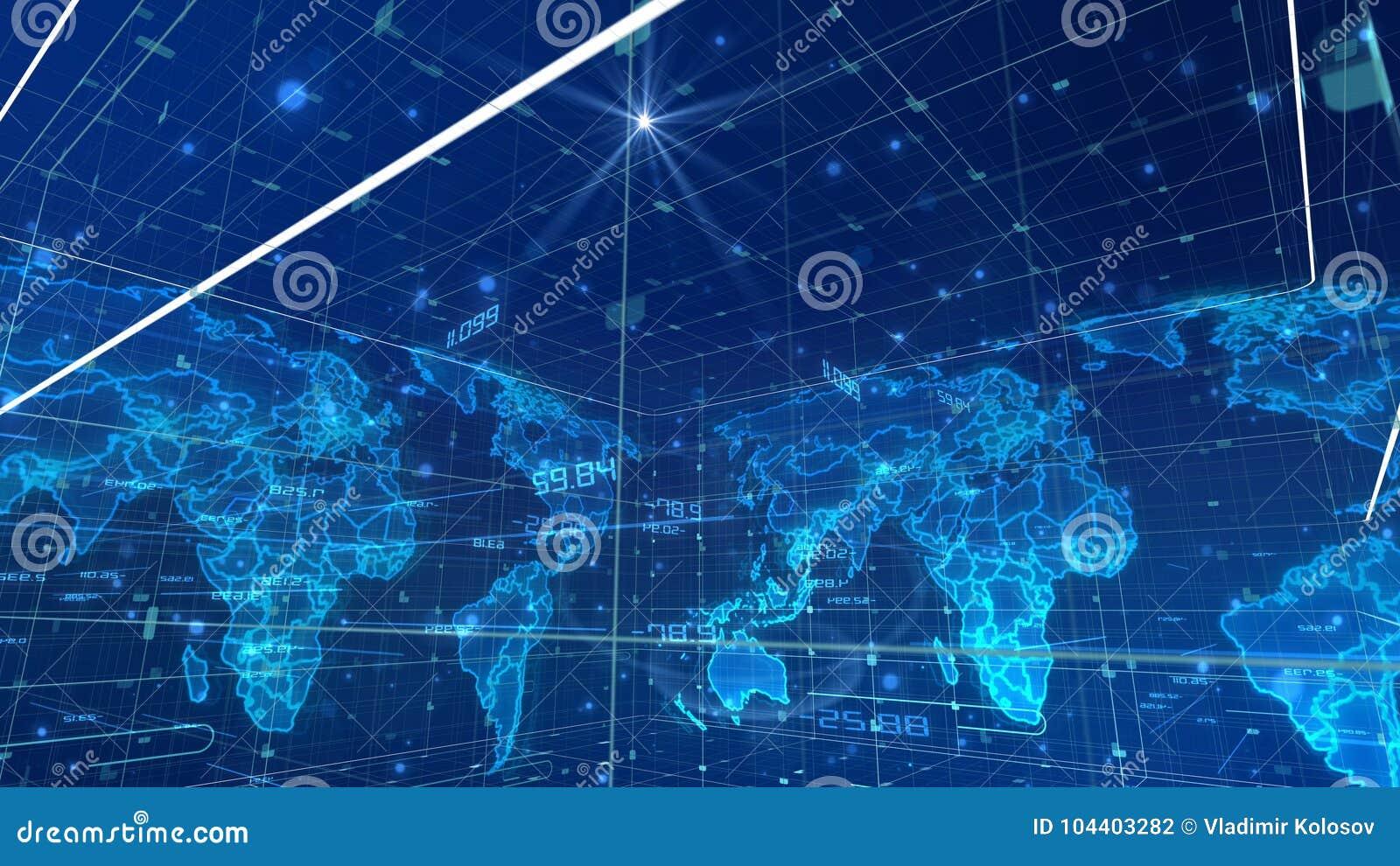 Mapa do mundo cúbico de uma comunicação de Digitas
