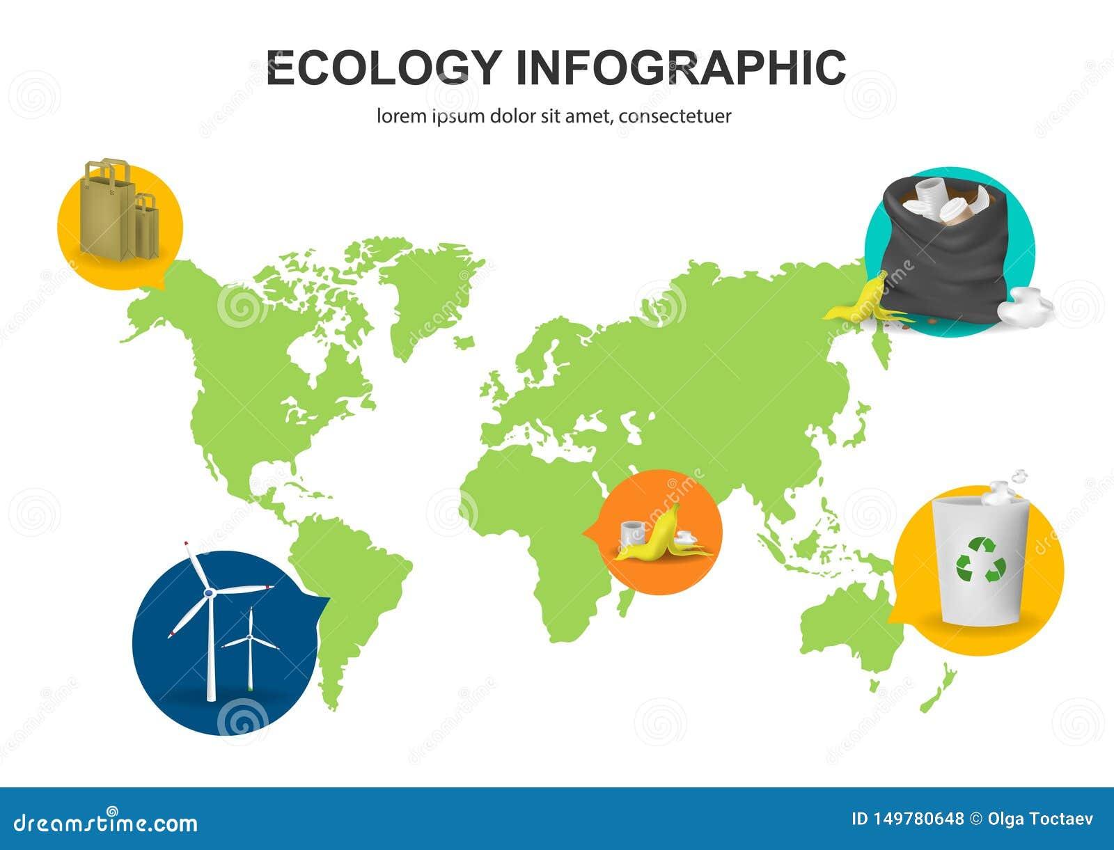 Mapa do mundo com imagens do lixo, moinhos de vento, sacos de papel Fundo abstrato do conceito da ecologia Ilustra??o infographic