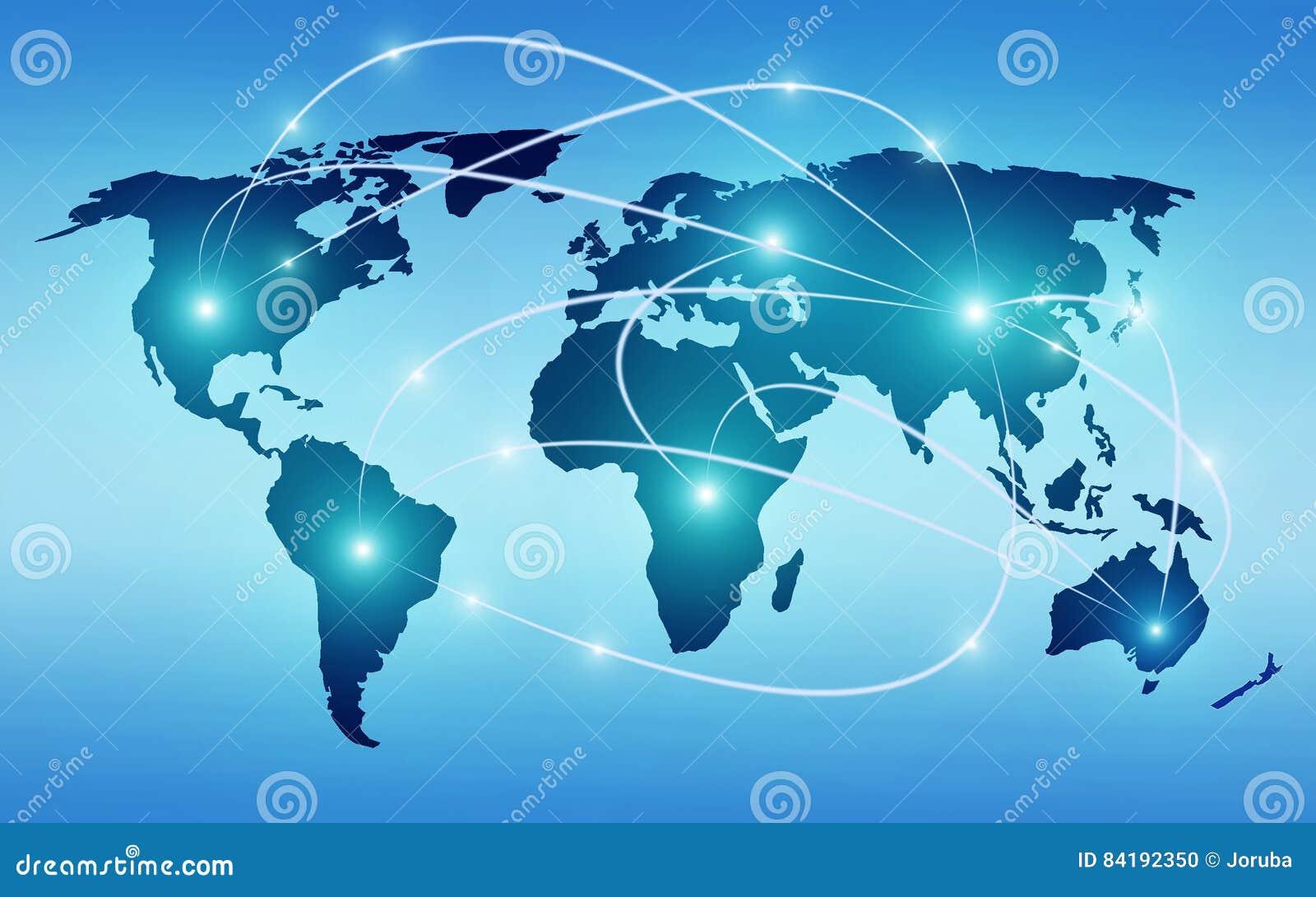Mapa do mundo com tecnologia global ou rede social da conexão