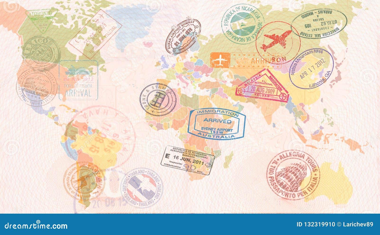 Mapa do mundo com vistos, selos, selos conceito do curso