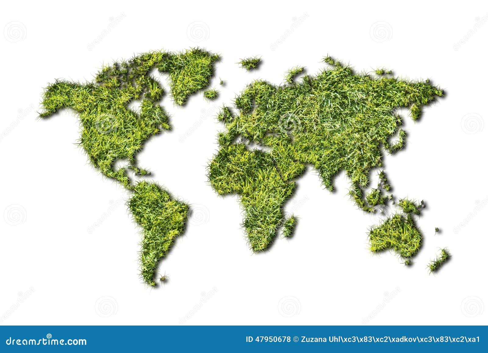 Mapa do mundo da ecologia da grama no fundo branco