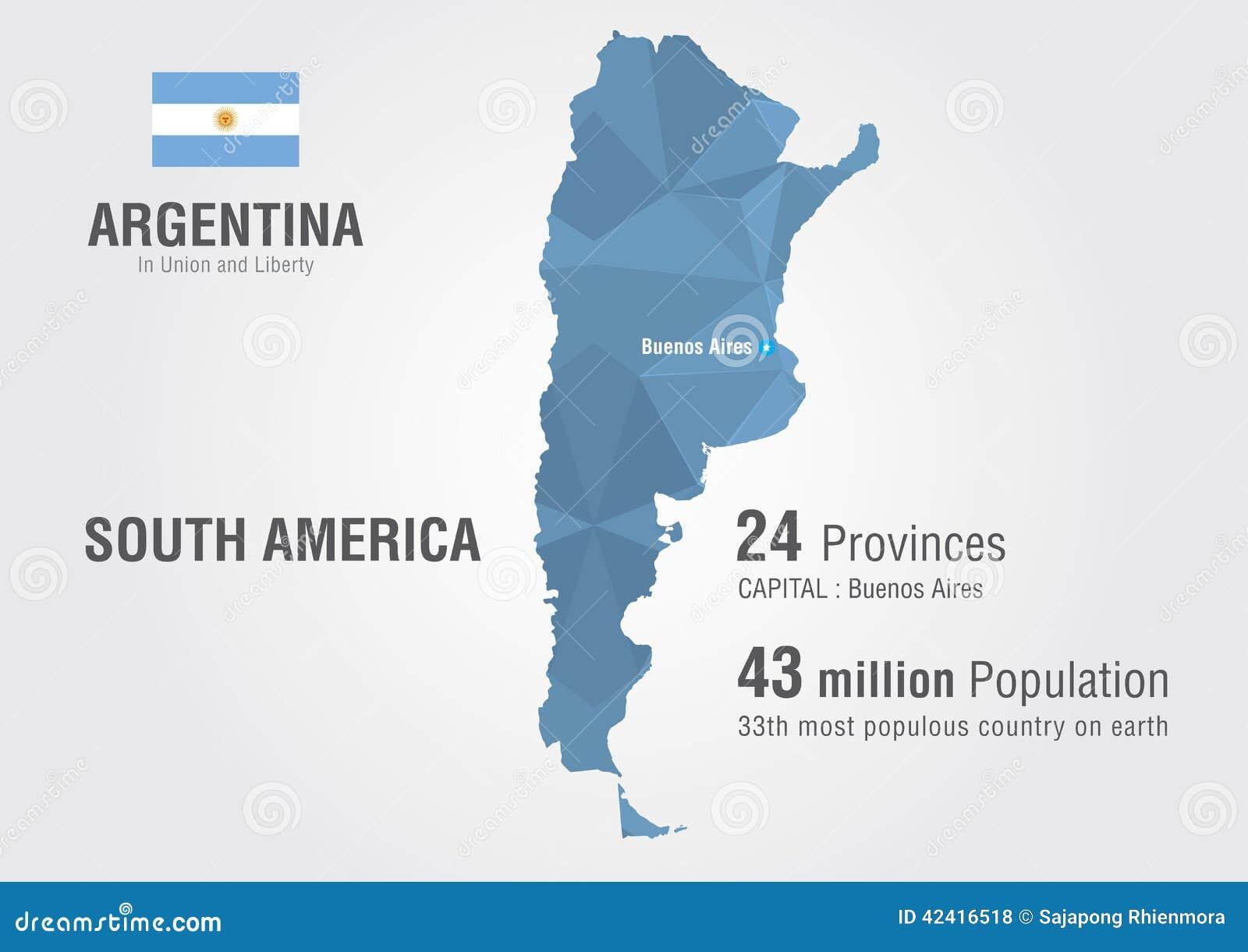 Mapa do mundo de Argentina com um teste padrão do diamante do pixel