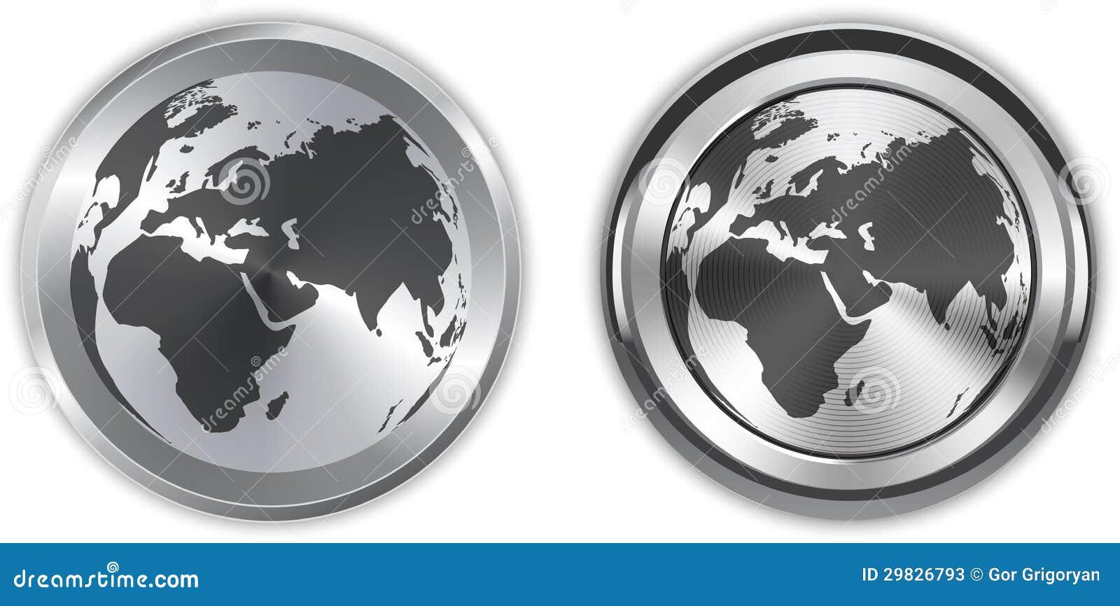 Mapa do mundo em elementos metálicos do círculo