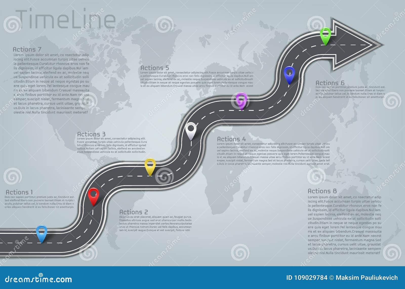 Mapa do mundo infographic do vetor, disposição do espaço temporal da estrada