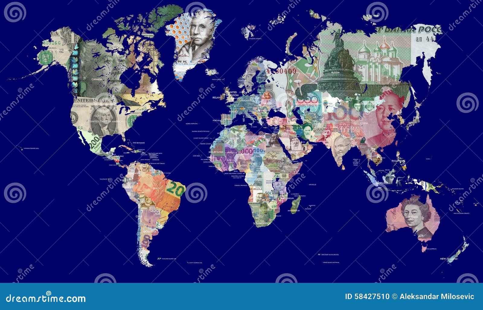 Mapa do mundo nas moedas