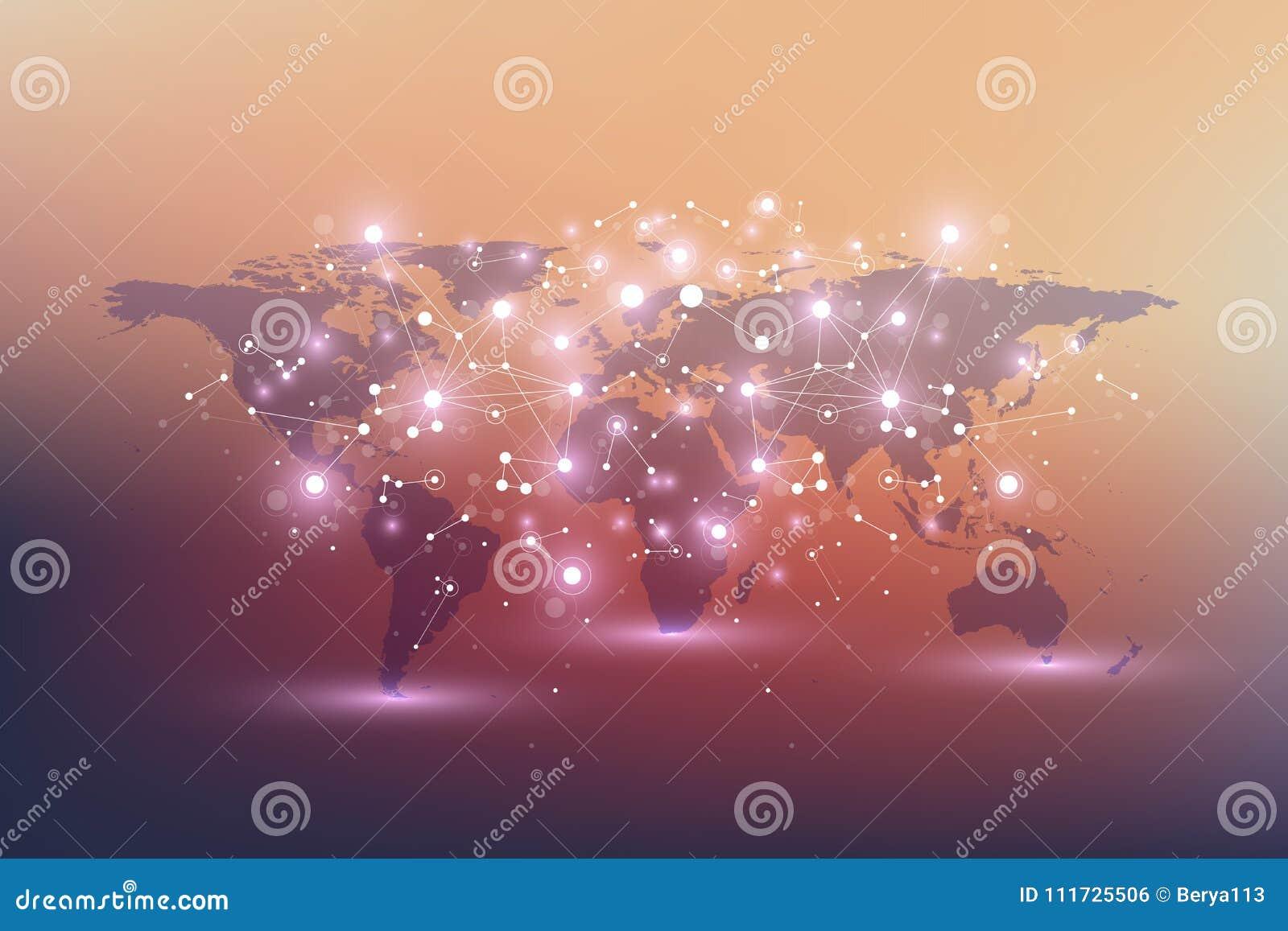 Mapa do mundo político com conceito global dos trabalhos em rede da tecnologia Visualização dos dados de Digitas Alinha o plexo D