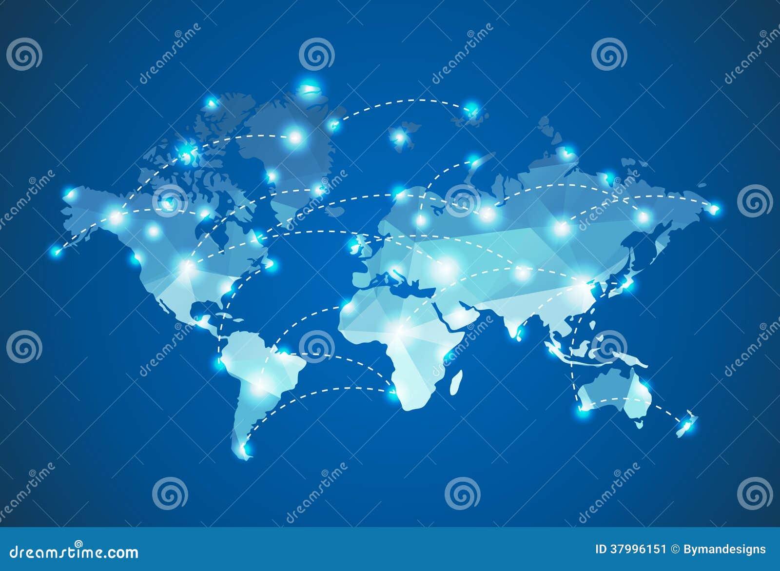 Mapa Y Ubicación Del Logo Azul Mapa Logotipo De: Mapa Do Mundo Poligonal Com Efeito Das Luzes Do Ponto