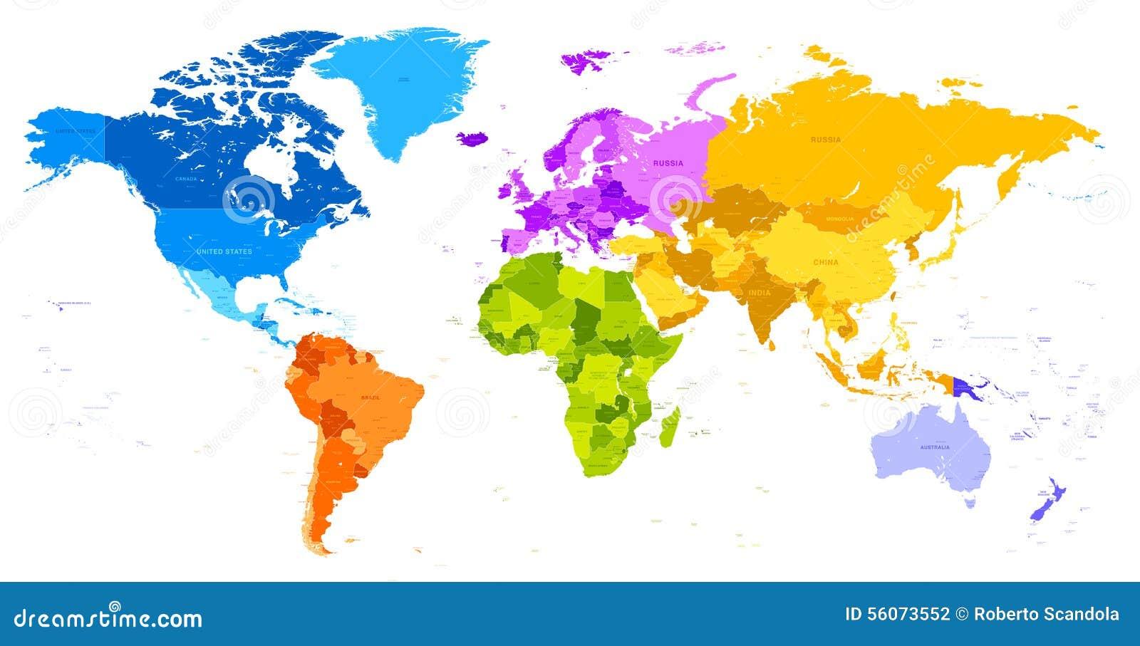 Mapa do mundo vibrante das cores