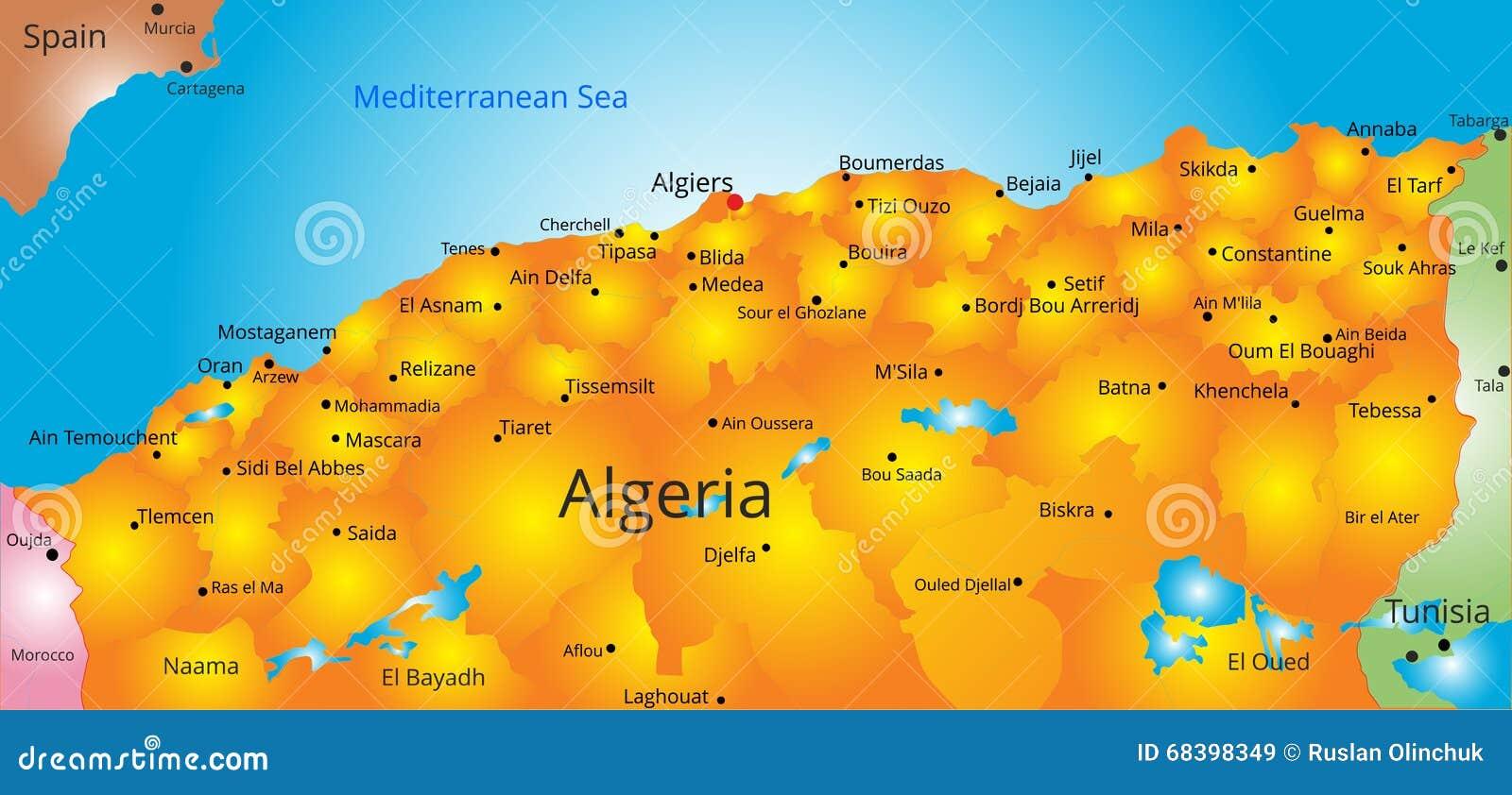 Mapa do país de Argélia