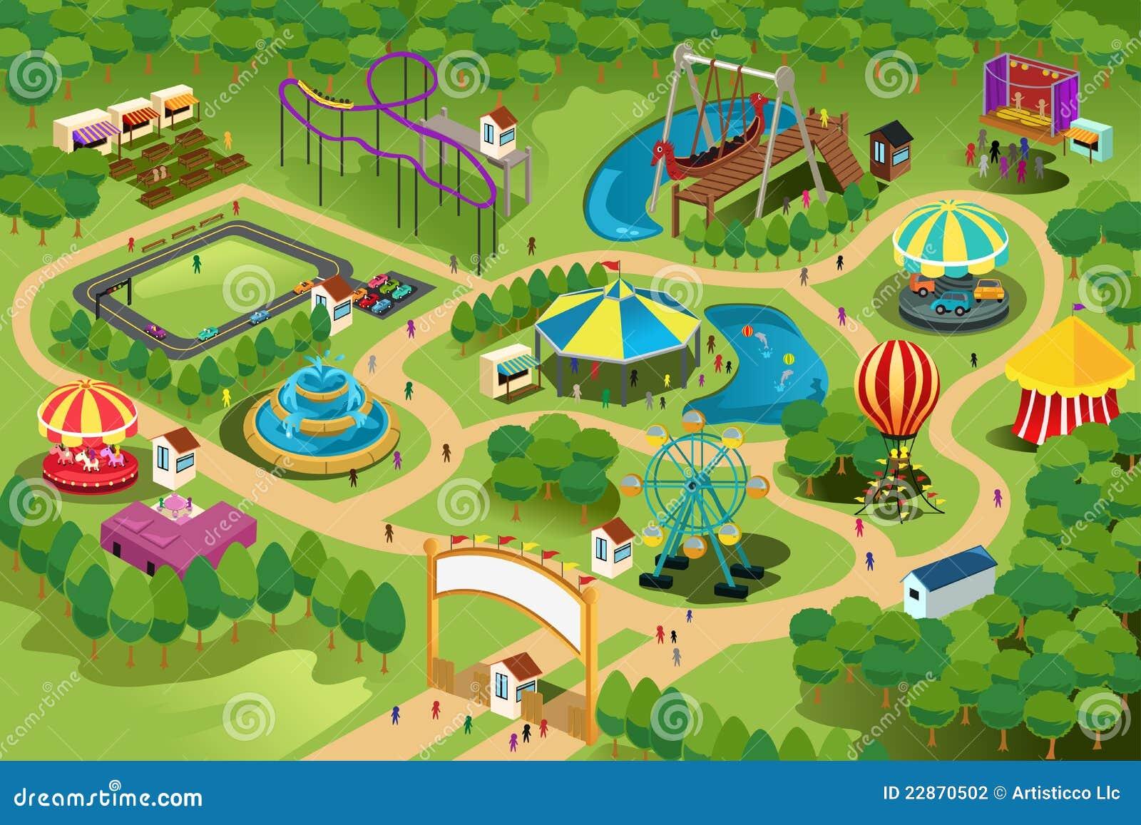 Mapa do parque de diversões