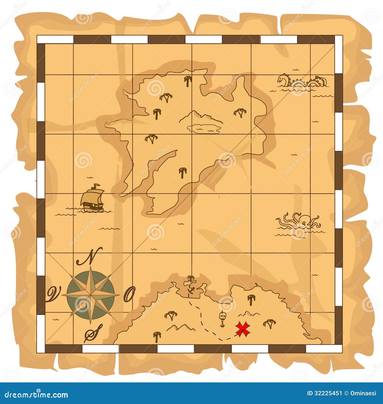 Download Mapa do tesouro ilustração do vetor. Ilustração de perdido - 32225451