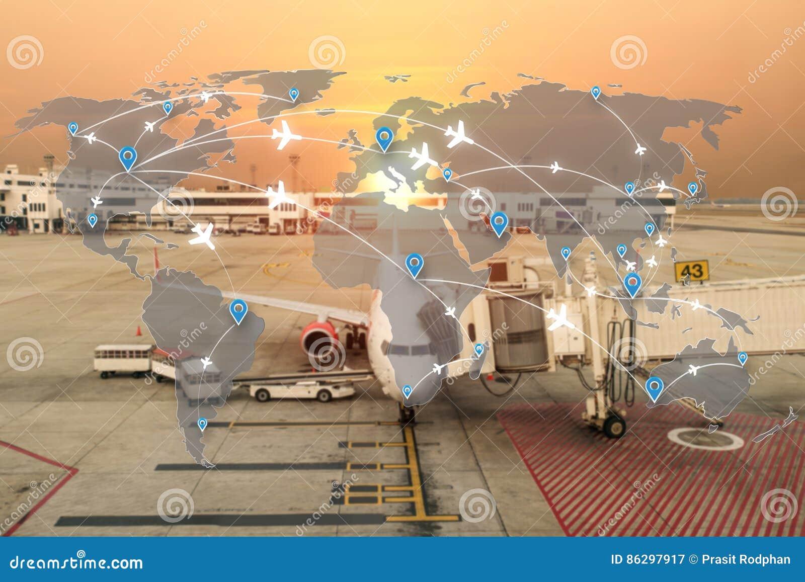 Mapa do uso da rede dos aviões das rotas de voo para o curso global, im