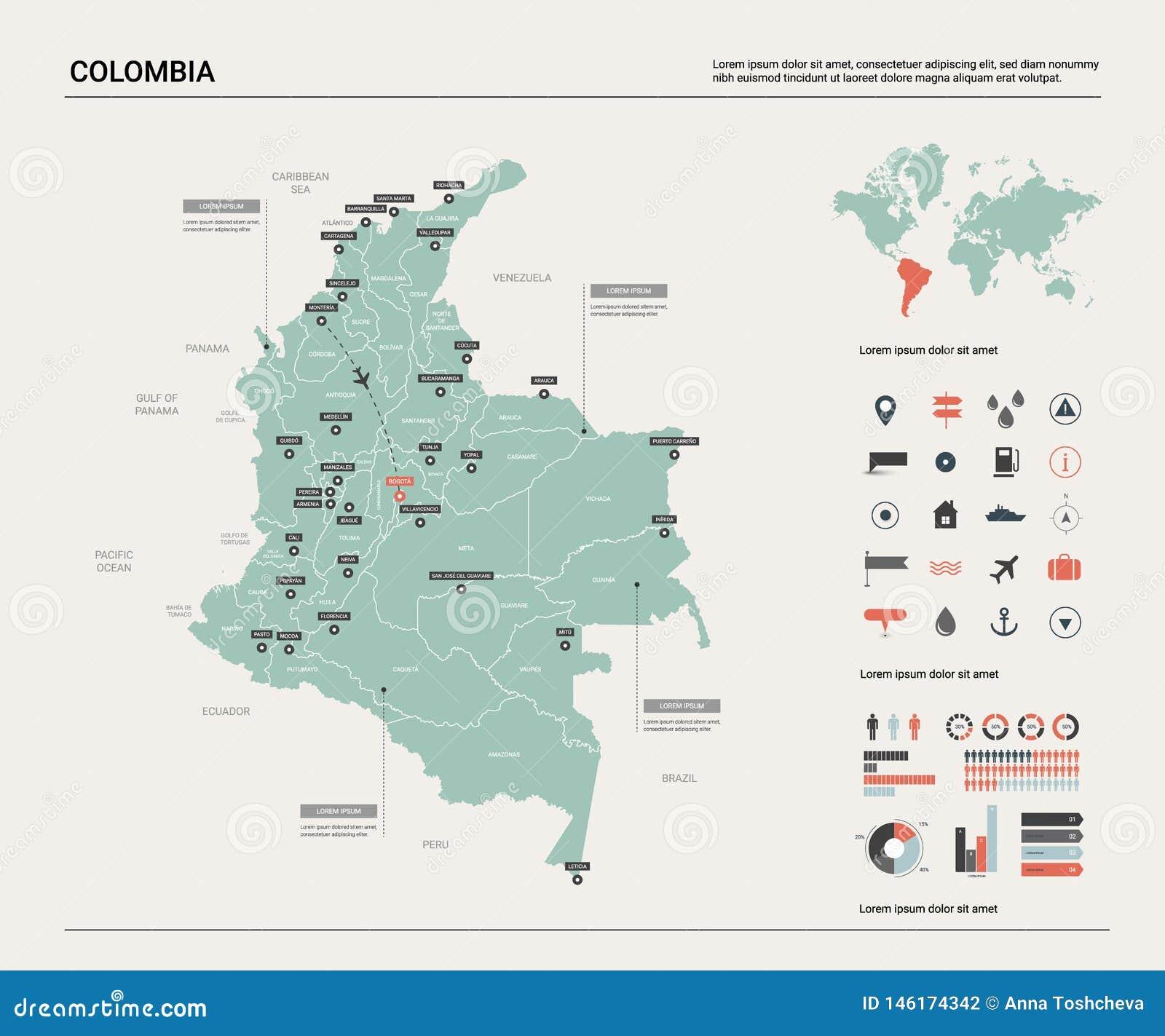 Mapa do vetor de Col?mbia Mapa detalhado alto do pa?s com divis?o, cidades e capital Bogot? Mapa pol?tico, mapa do mundo, infogra