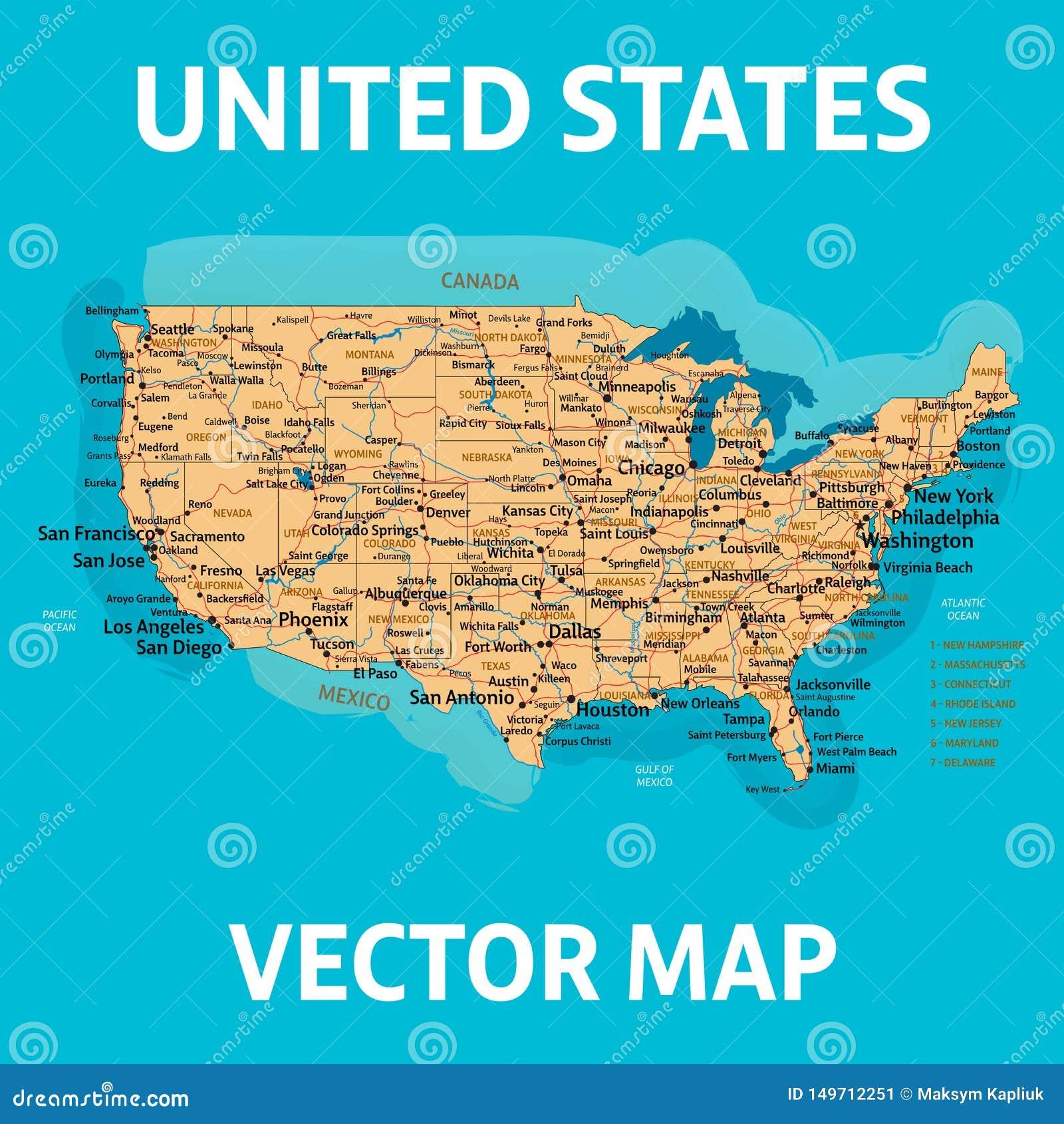 Mapa do vetor dos E.U. Mapa de Estados Unidos da Am?rica Detalization alto