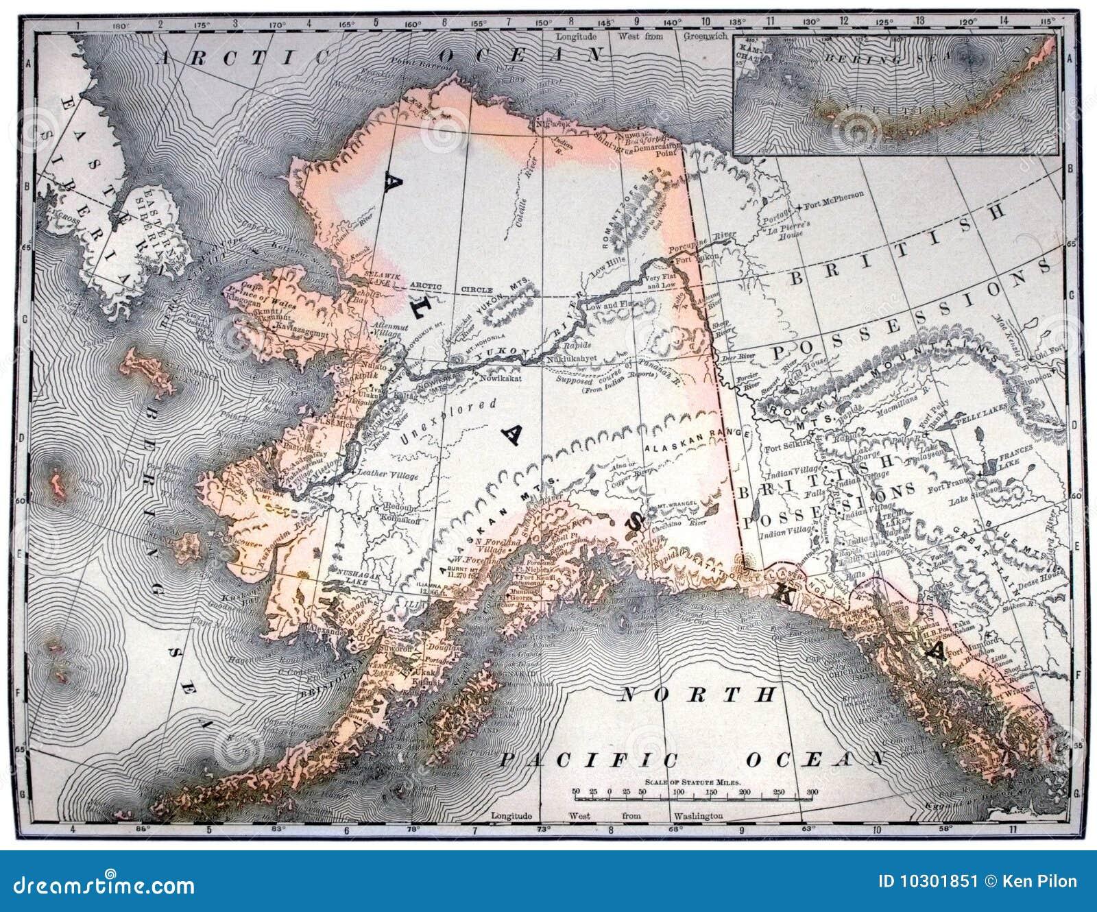 Mapa do vintage de Alaska