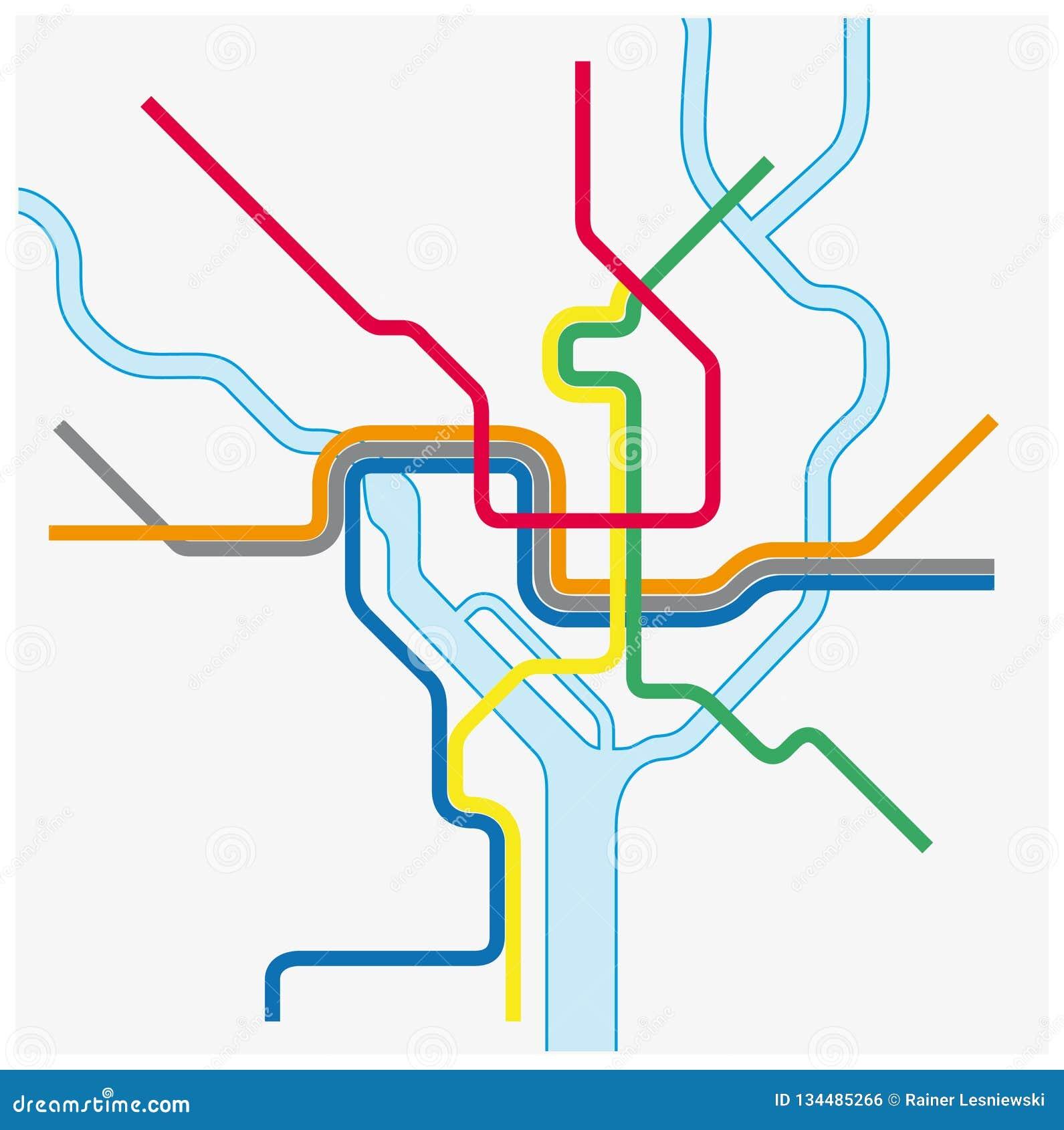 Mapa do Washington DC, Estados Unidos do metro