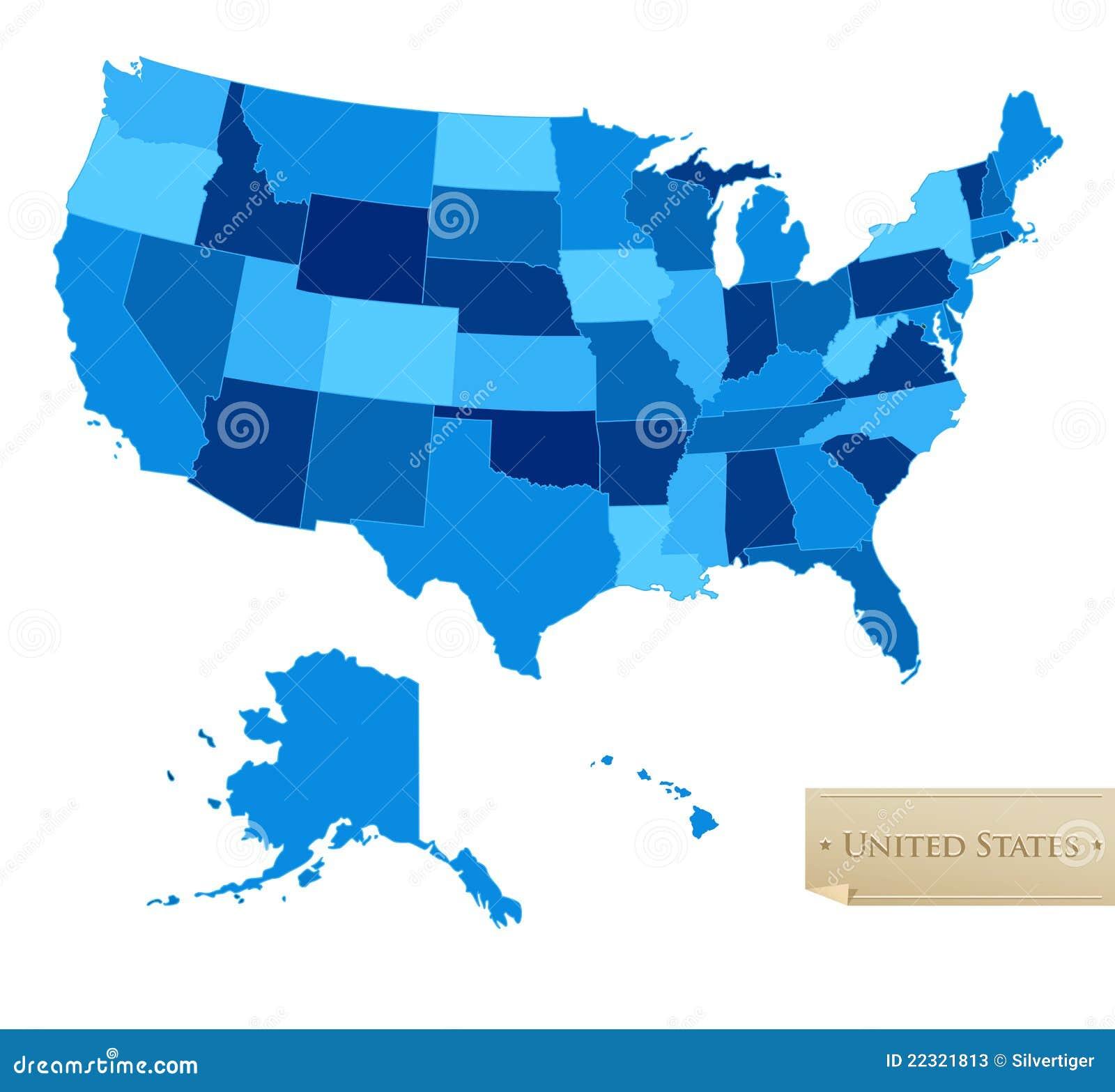 Mapa dos E.U. - Estados Unidos traçam com todos os 50 estados