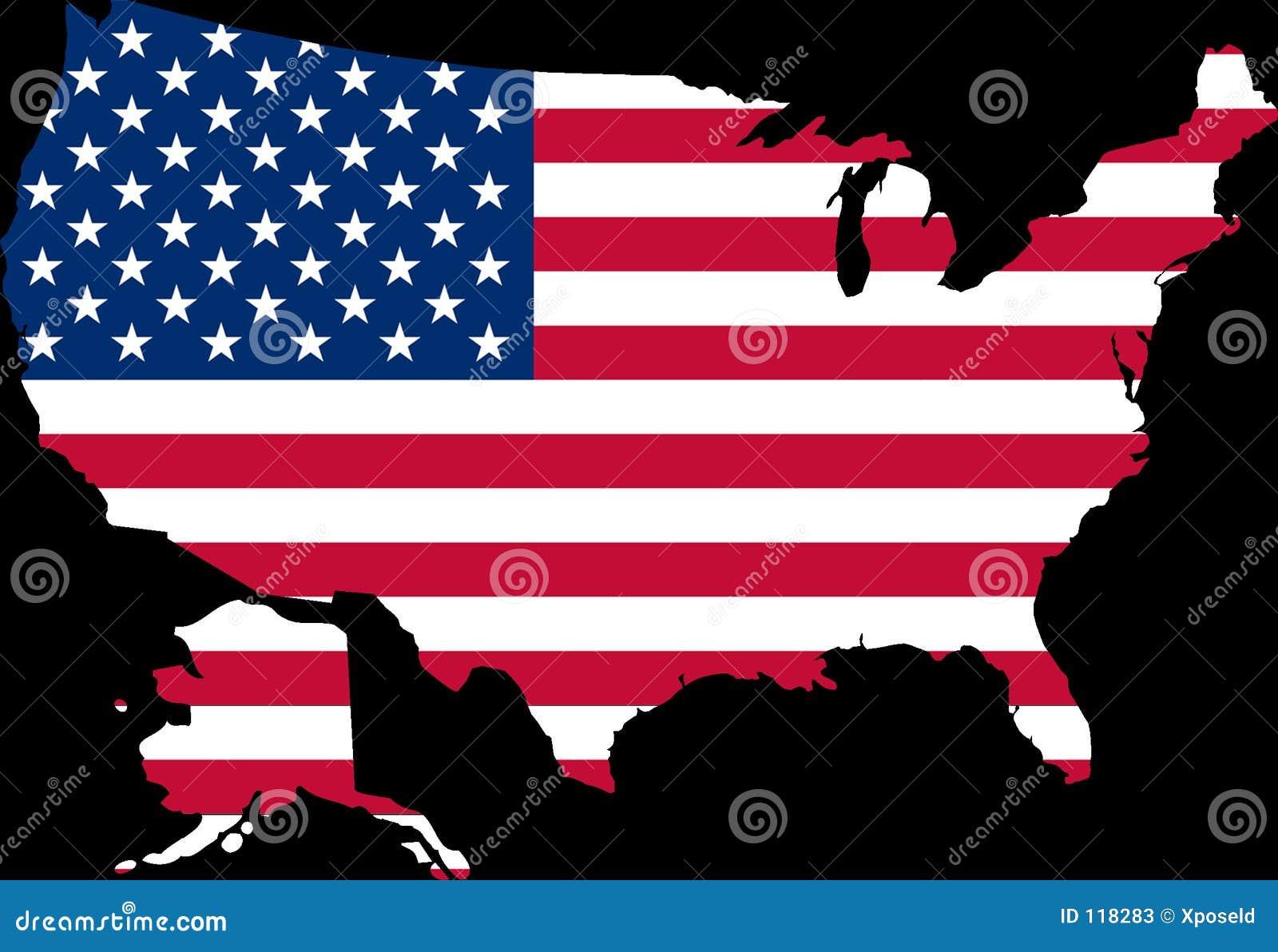 Mapa dos EUA com a bandeira