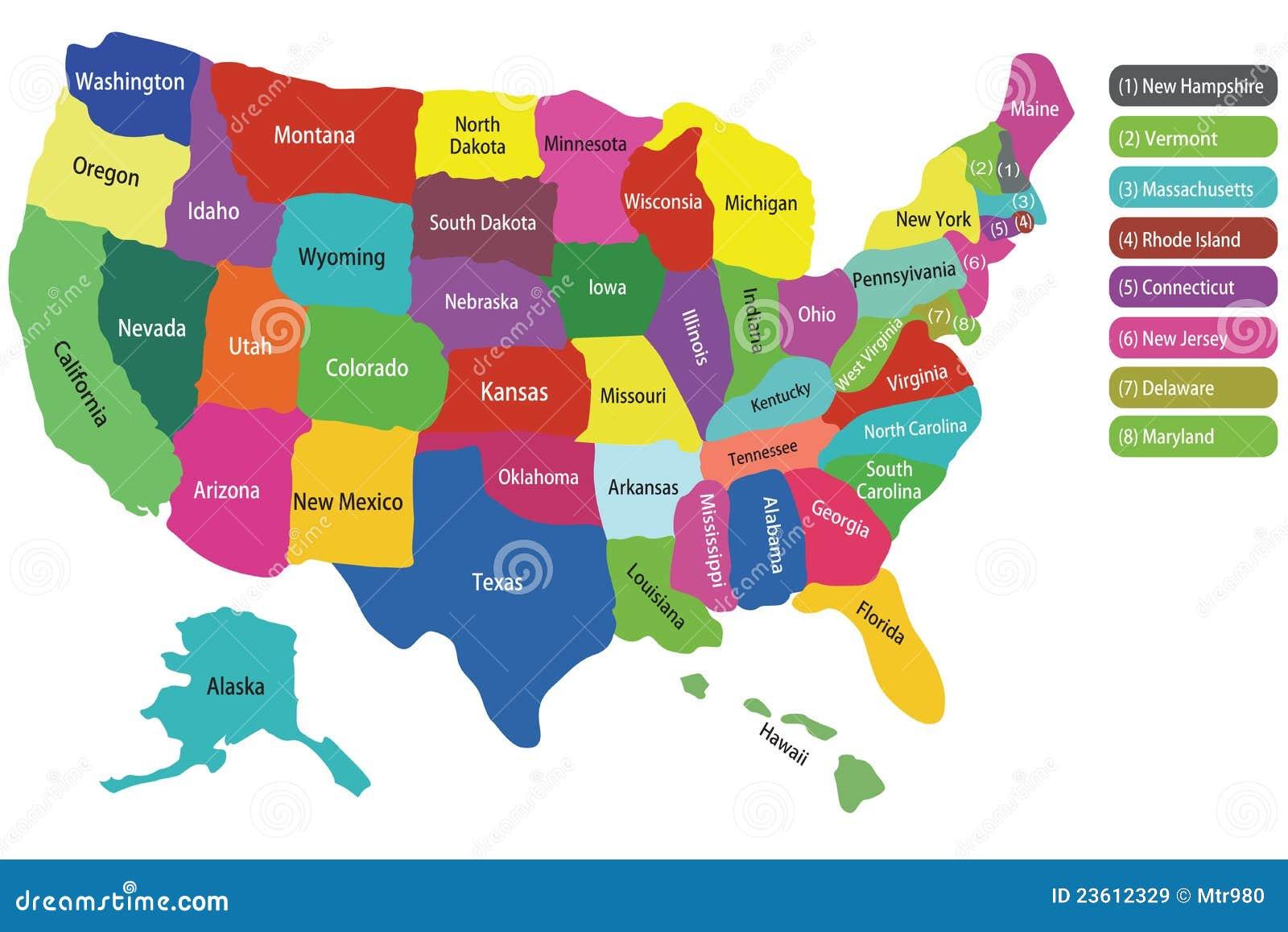 Well-known Mapa dos EUA com estados ilustração do vetor. Ilustração de  LA93