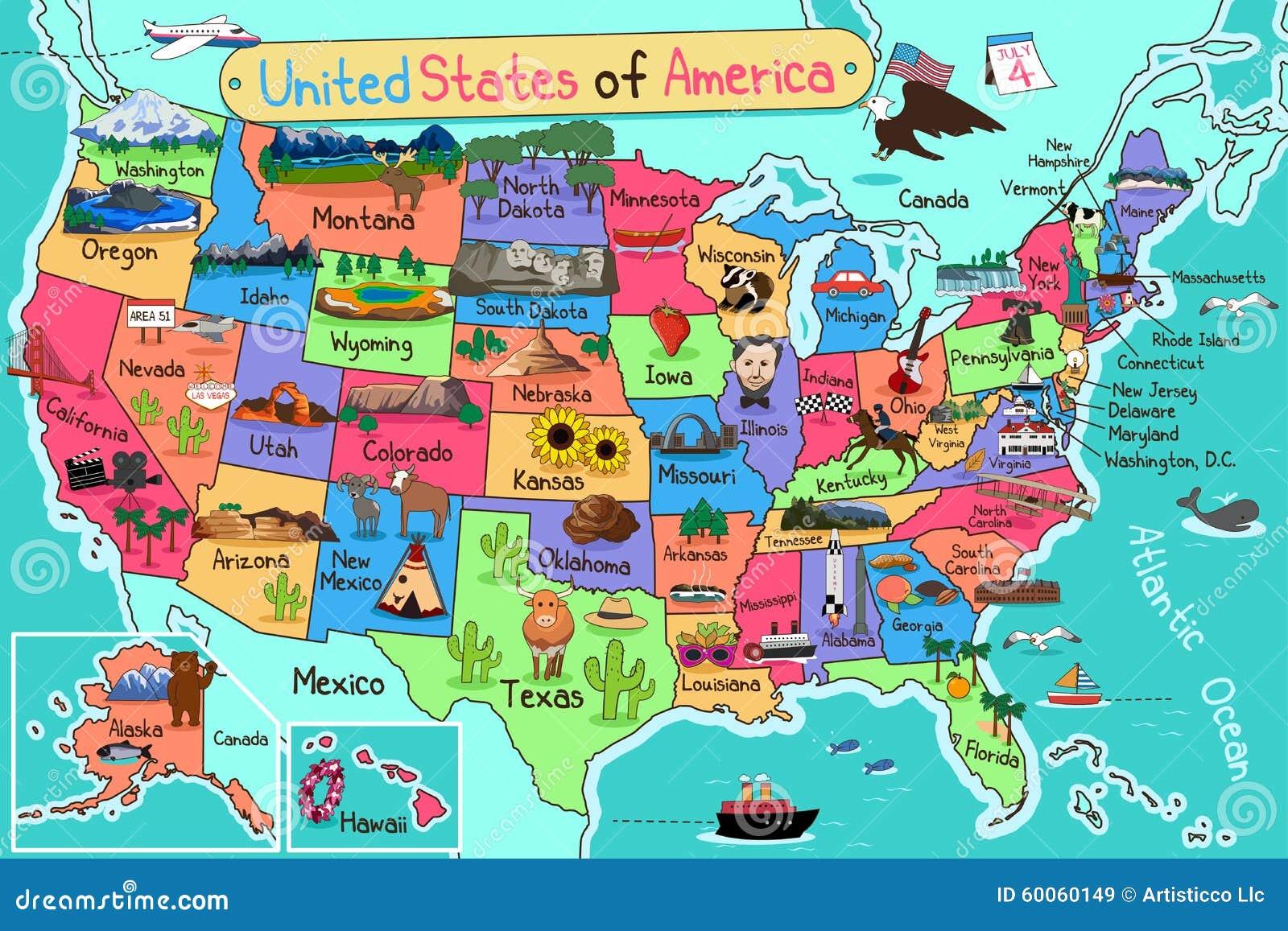 Mapa dos EUA no estilo dos desenhos animados