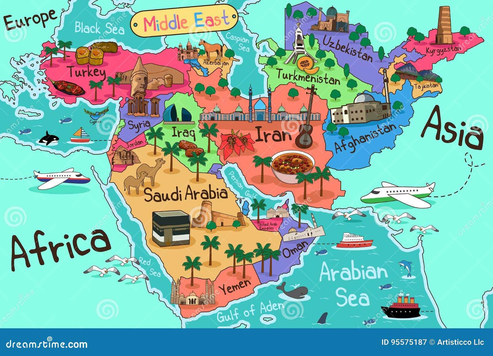 mapa dos países de médio oriente no estilo dos desenhos animados