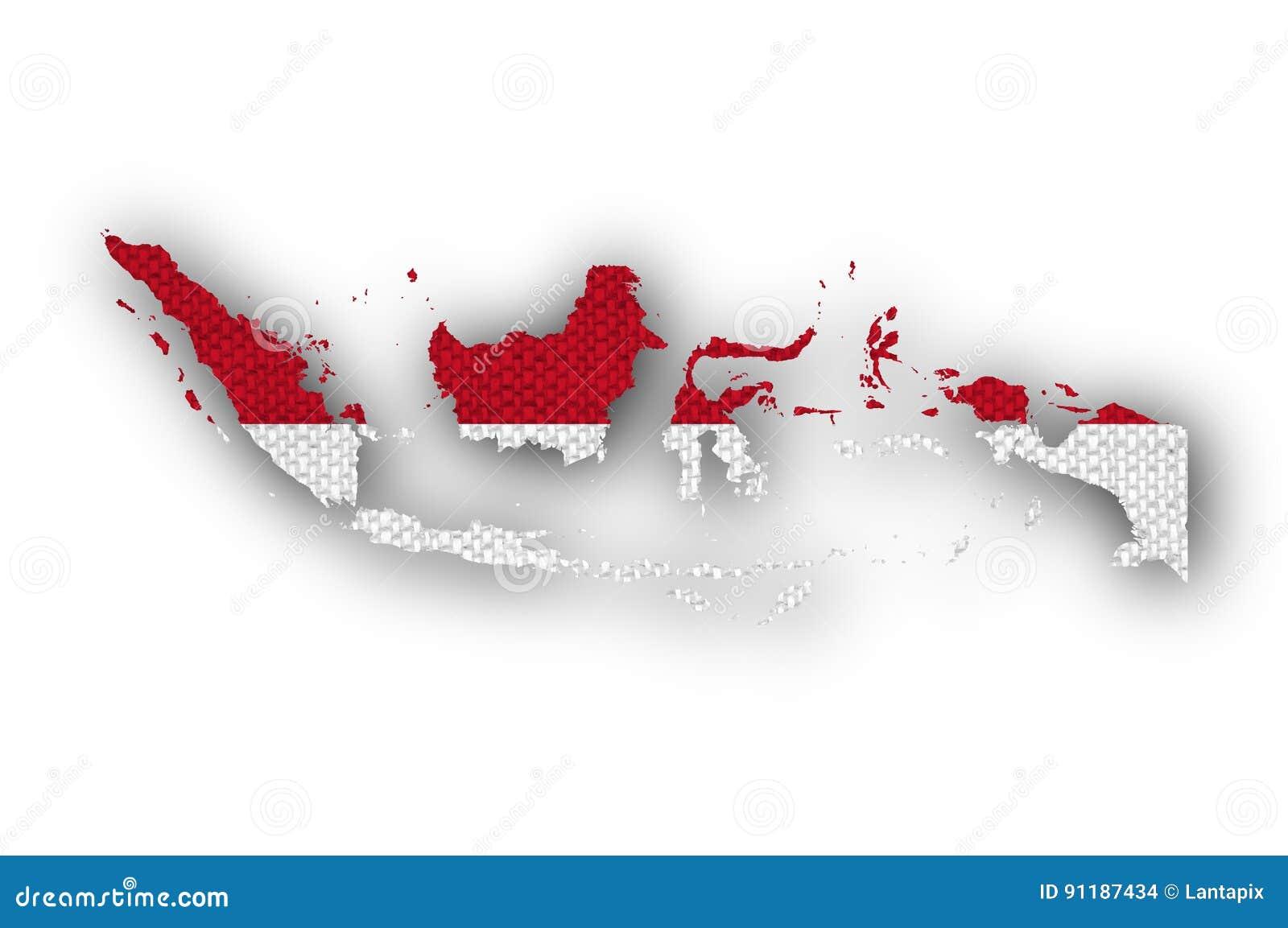 Mapa e bandeira de Indonésia no linho velho