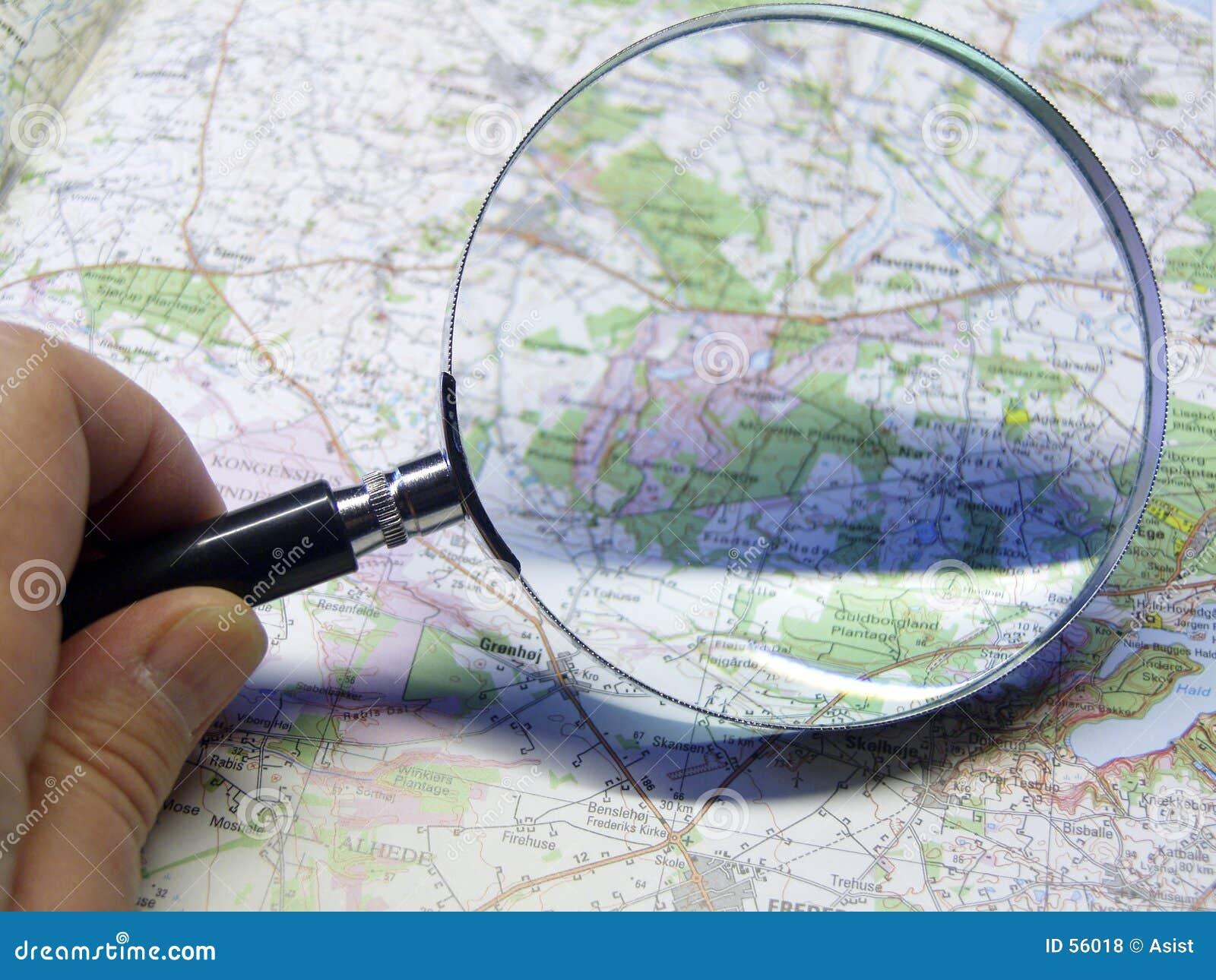 Mapa e glas de ampliação