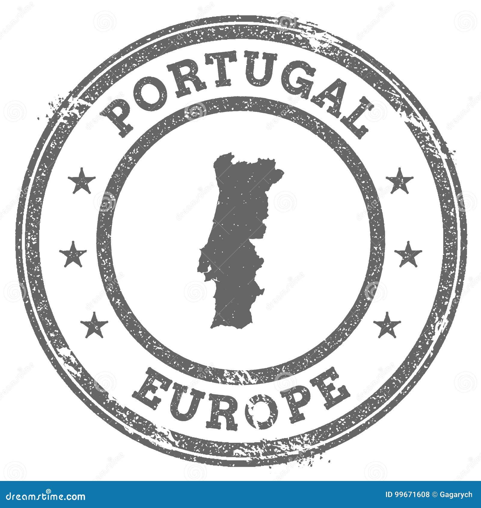 Mapa E Texto Do Carimbo De Borracha Do Grunge De Portugal