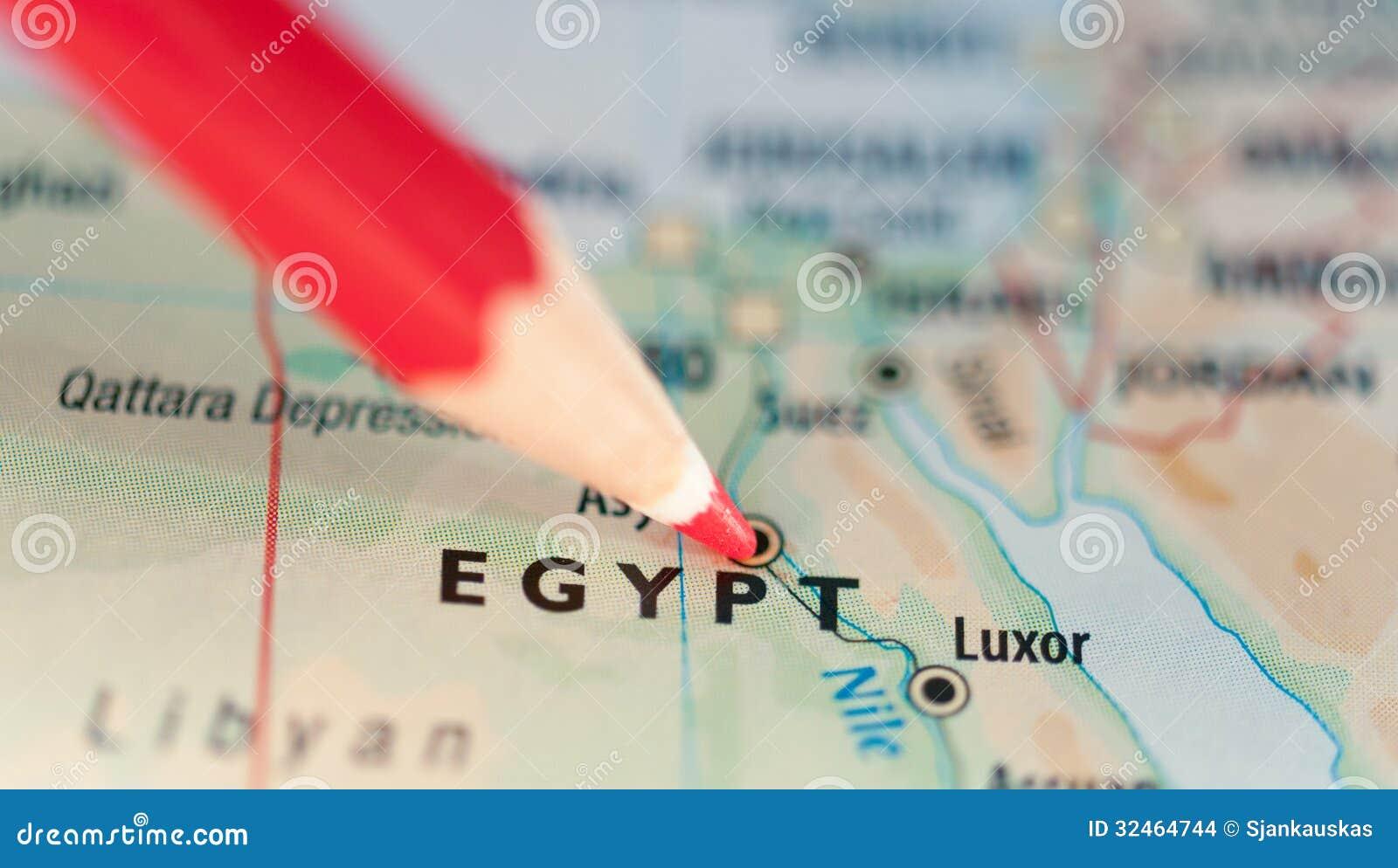Mapa Egipt gorący punkt