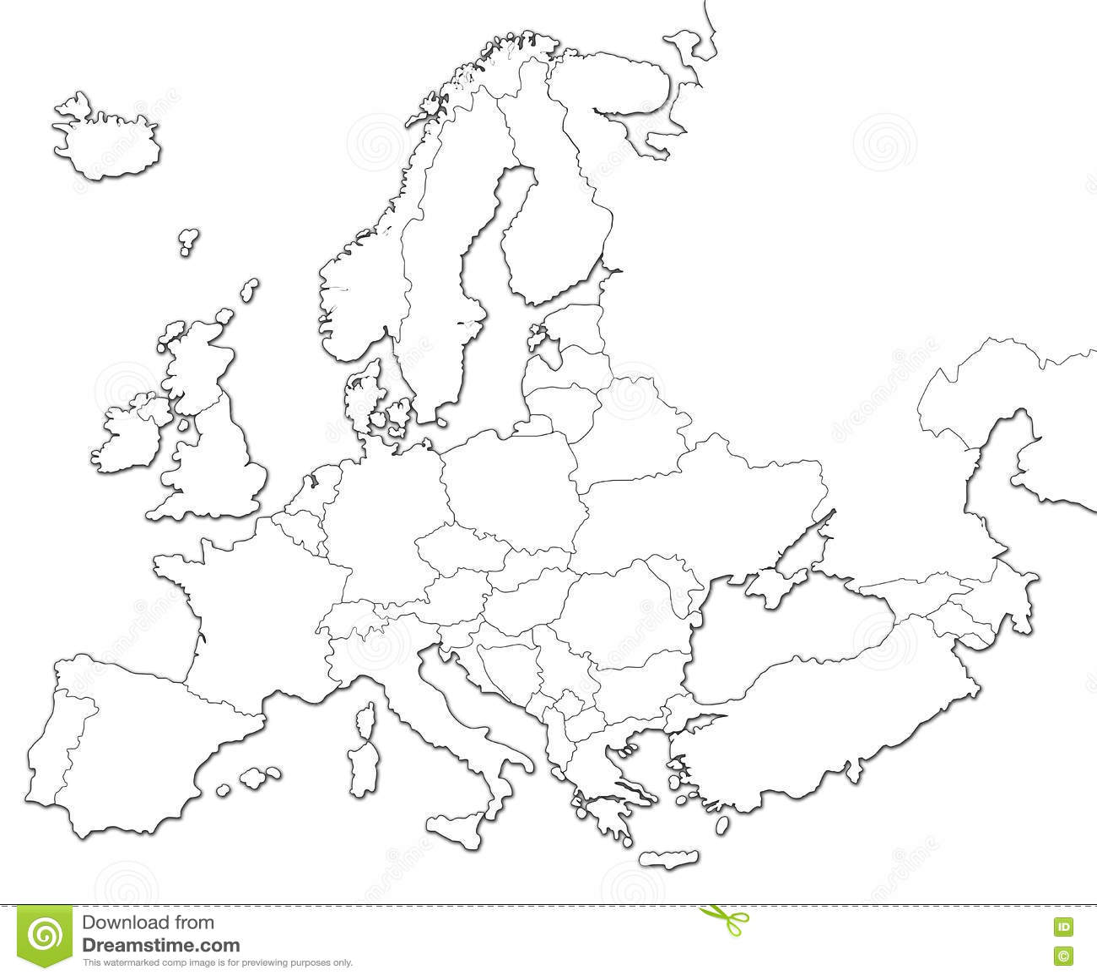 mapa europa em branco Mapa em branco de Europa ilustração stock. Ilustração de bulgária  mapa europa em branco