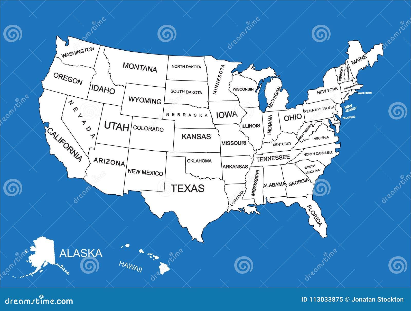 Mapa en blanco Editable del vector de Estados Unidos Mapa del vector de los Estados Unidos de América