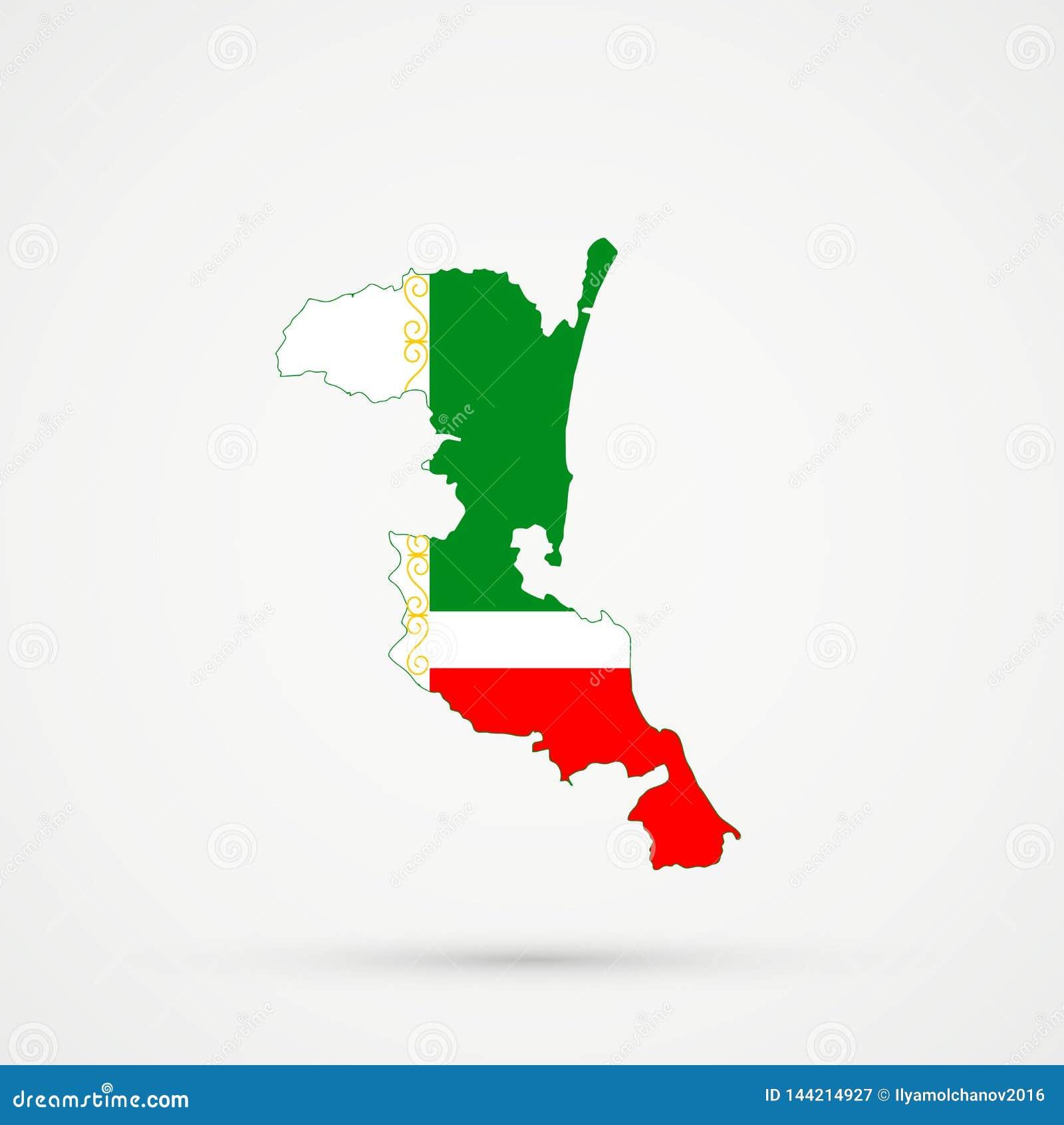 Mapa en colores de la bandera de Chechenia, vector editable de Kumykia Daguestán
