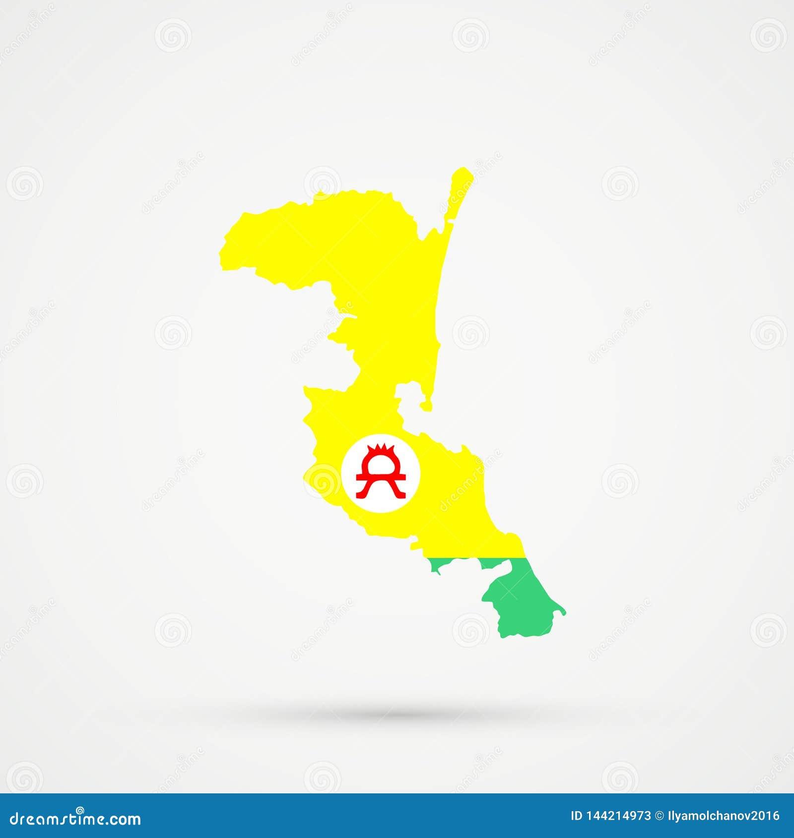 Mapa en colores de la bandera de los grupos ?tnicos de Altaians Rusia, vector editable de Kumykia Daguest?n