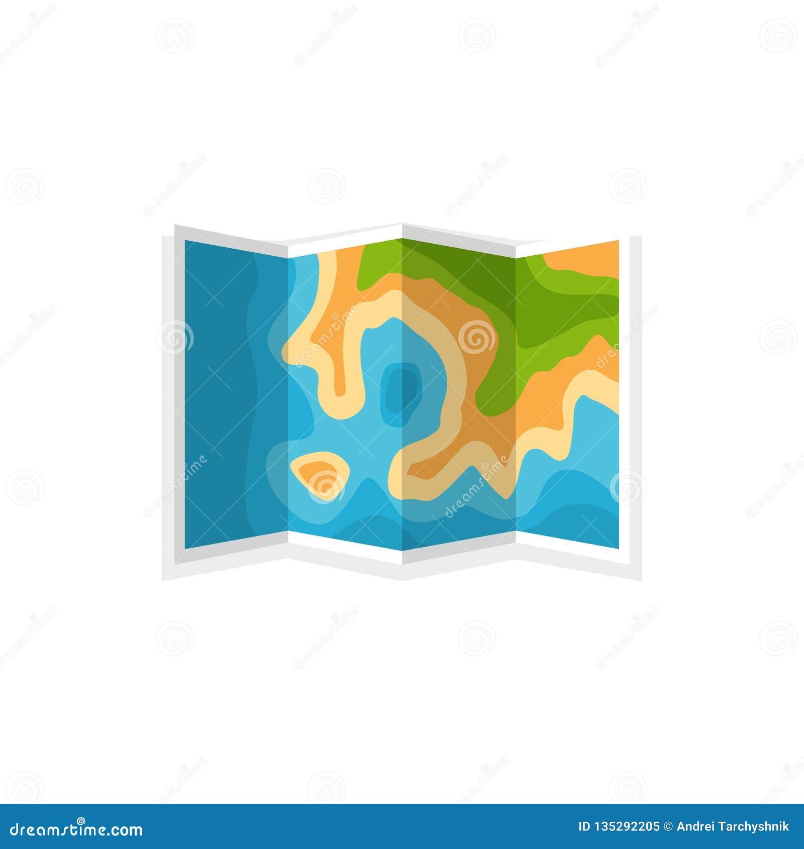 Mapa en un estilo plano nearsighted Viaje, caminando y acampando Cartographz Planeamiento de la ruta Ilustración del vector