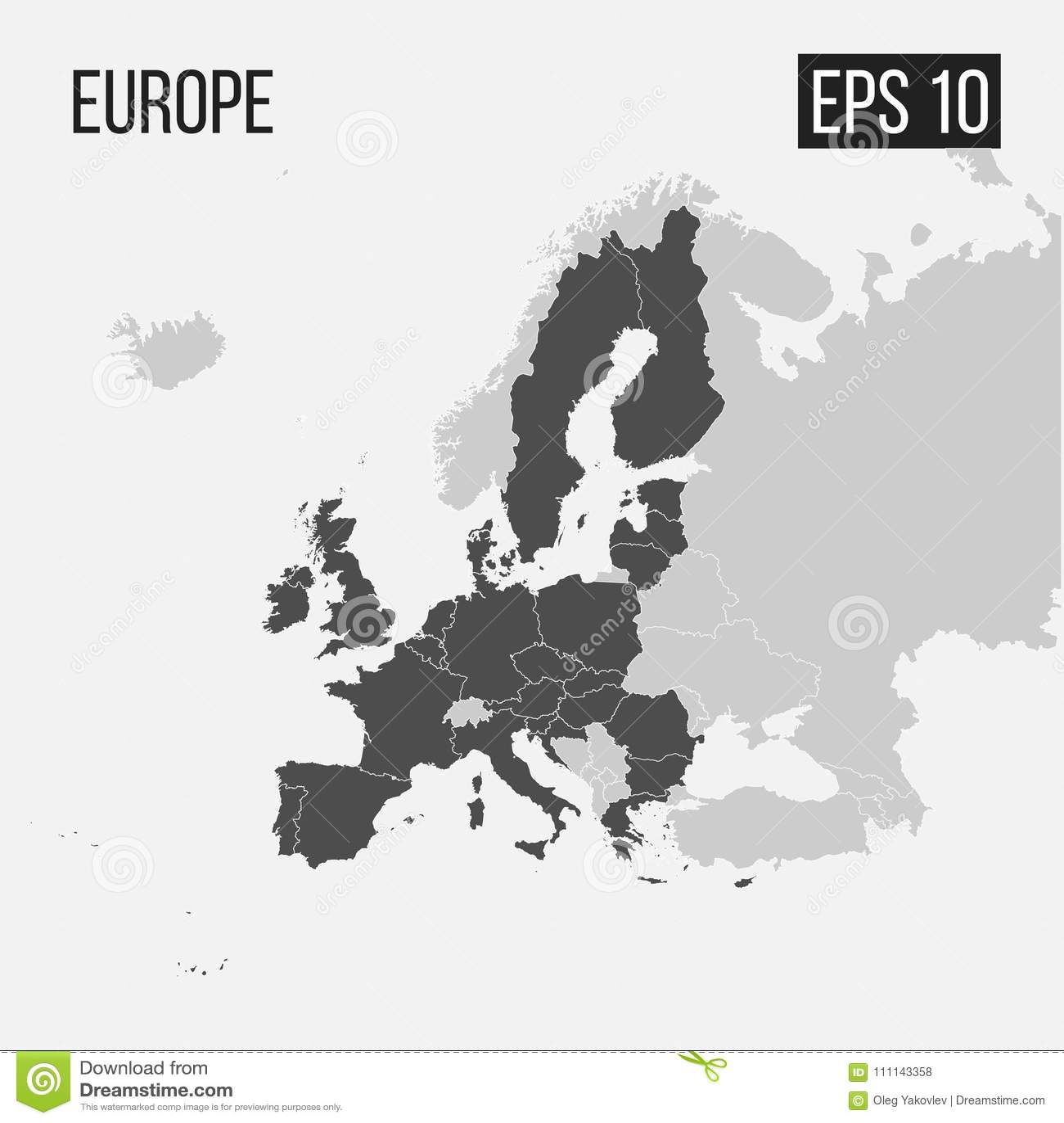 Mapa Europa Z Regionami Ilustracja Wektor Ilustracja Zlozonej Z