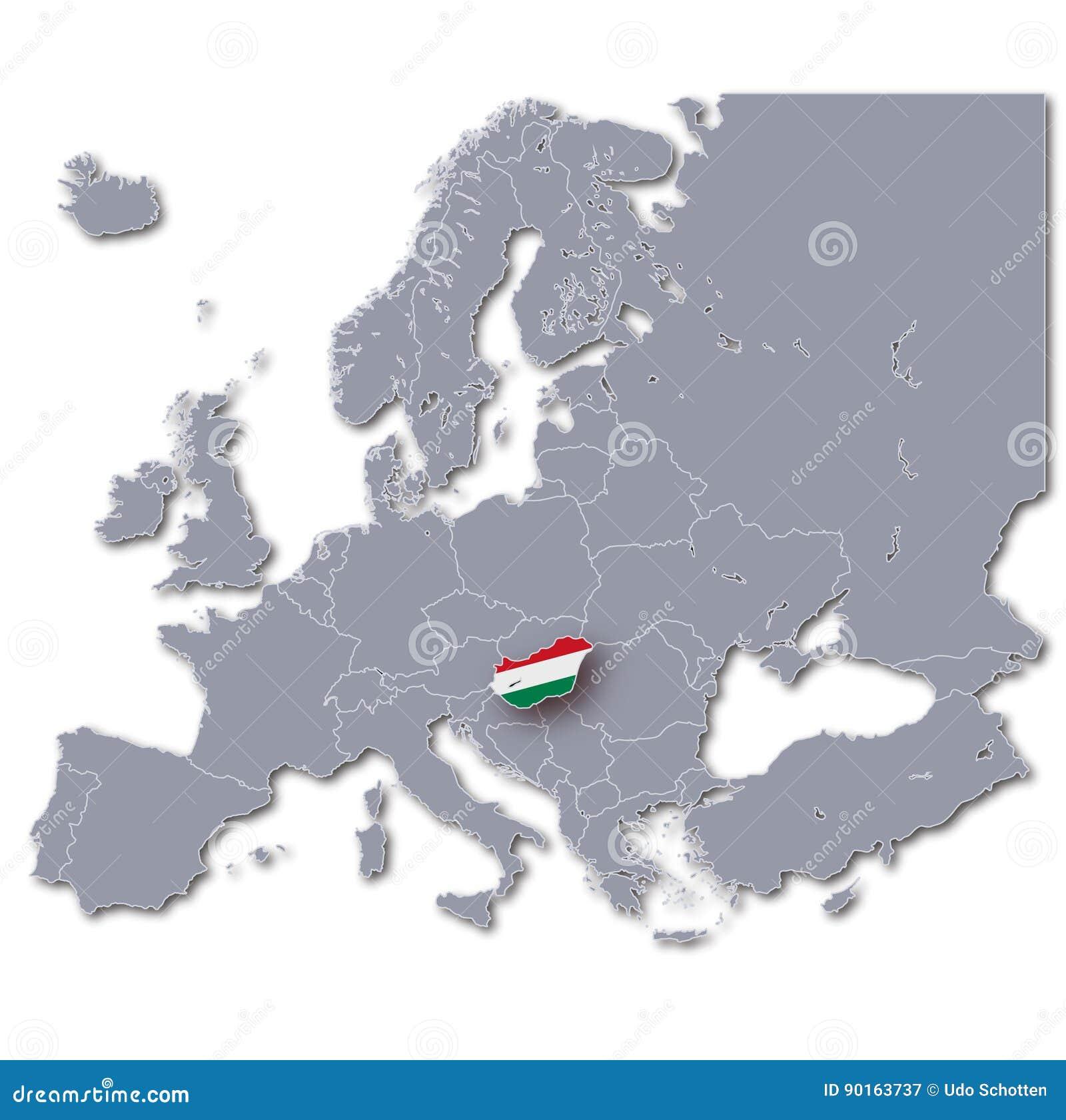 Mapa Europa Z Wegry Ilustracji Ilustracja Zlozonej Z Wegry 90163737