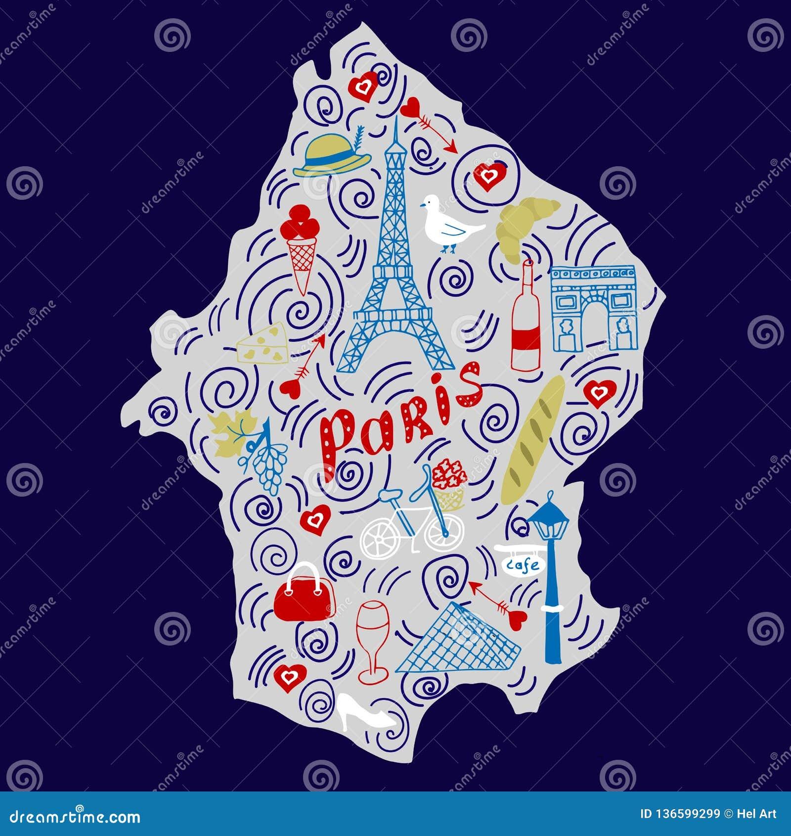 Mapa exhausto de la mano de París en estilo del garabato
