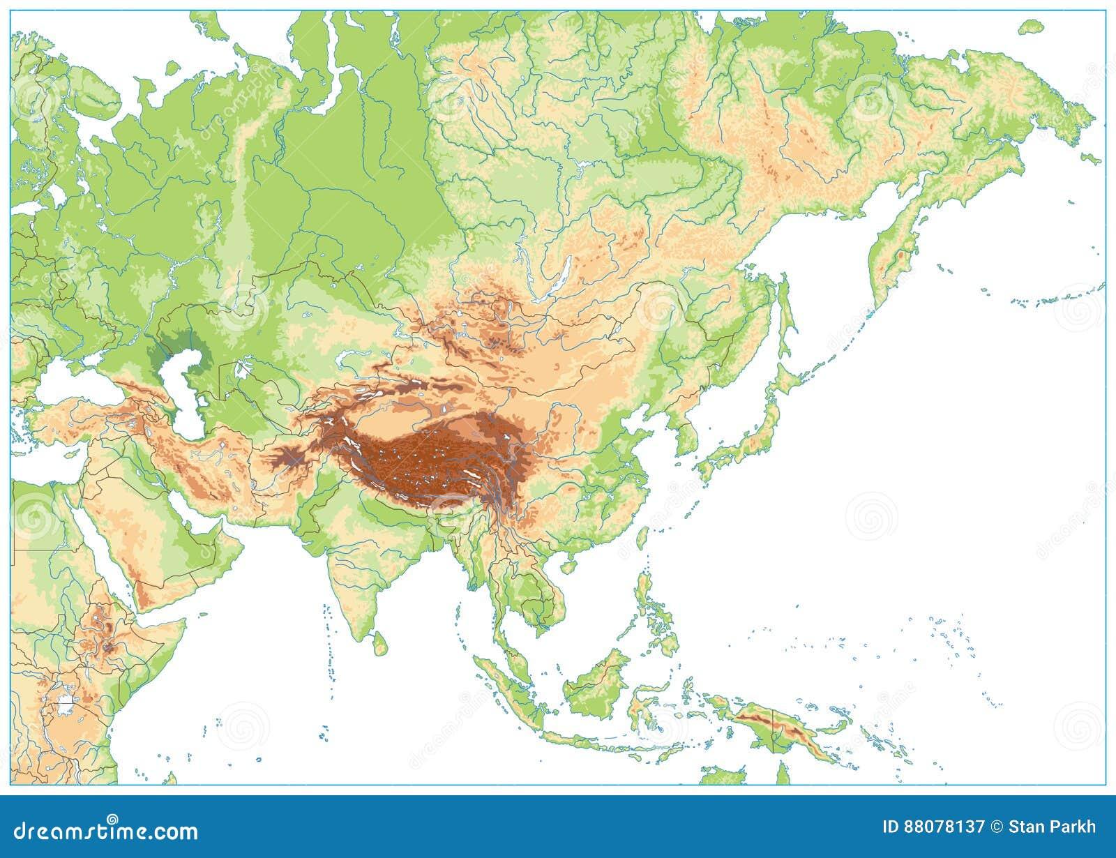 Mapa Mudo Asia Fisico.Mapa Fisico De Asia Aislado En Blanco Ningui N Texto