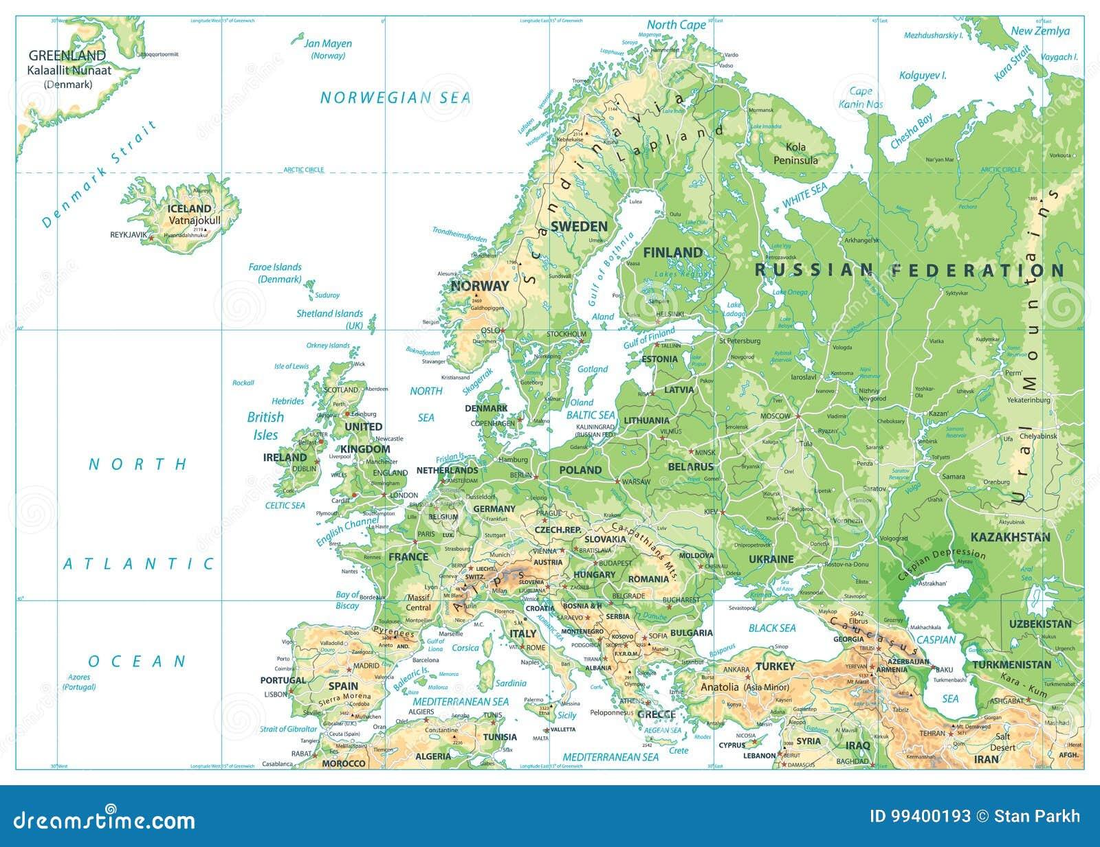 Mapa Físico De Europa.Mapa Fisico De Europa Aislado En Blanco Ilustracion Del