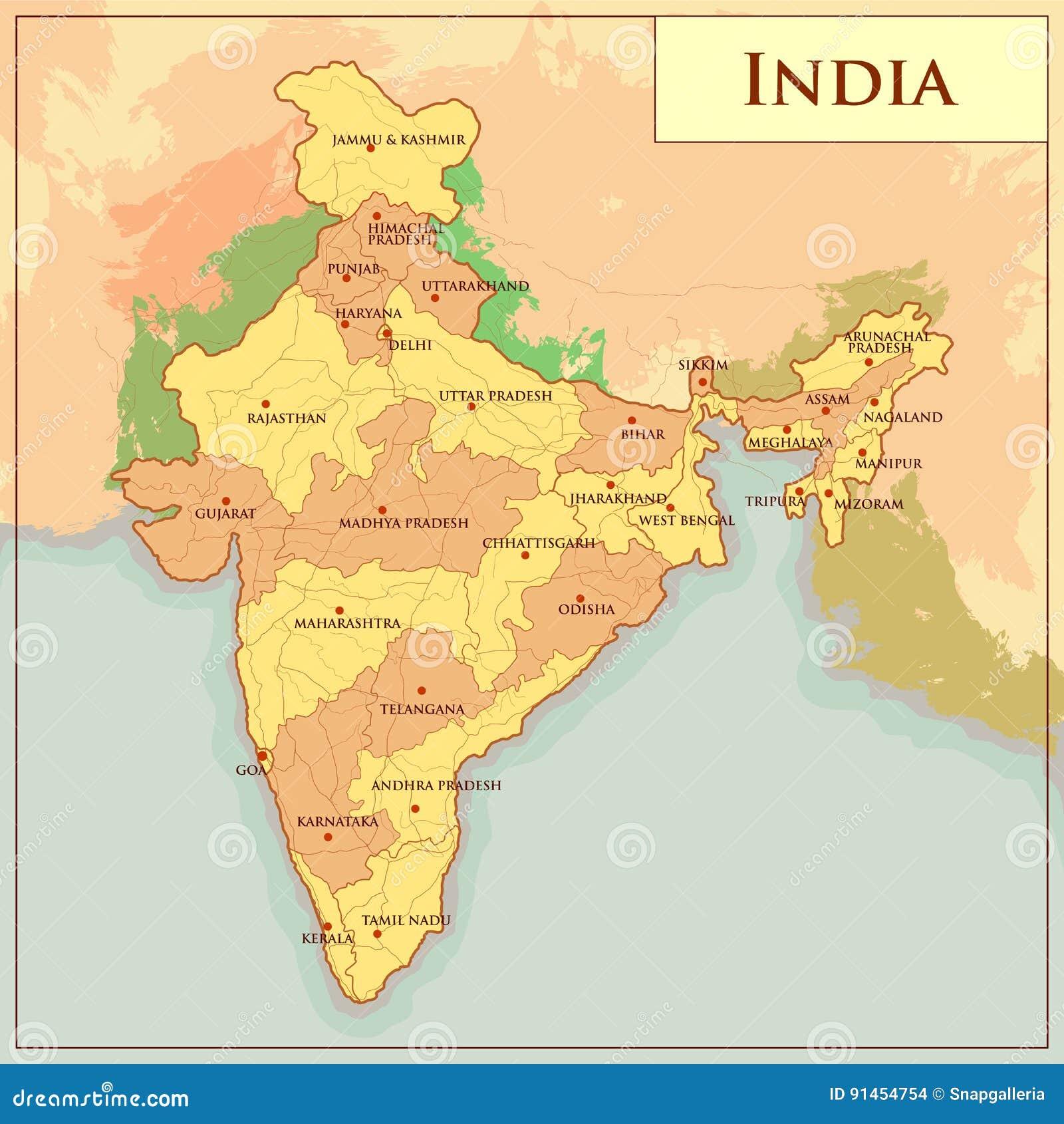 Mapa Físico De La India Con Diverso Estado Ilustración del Vector ...